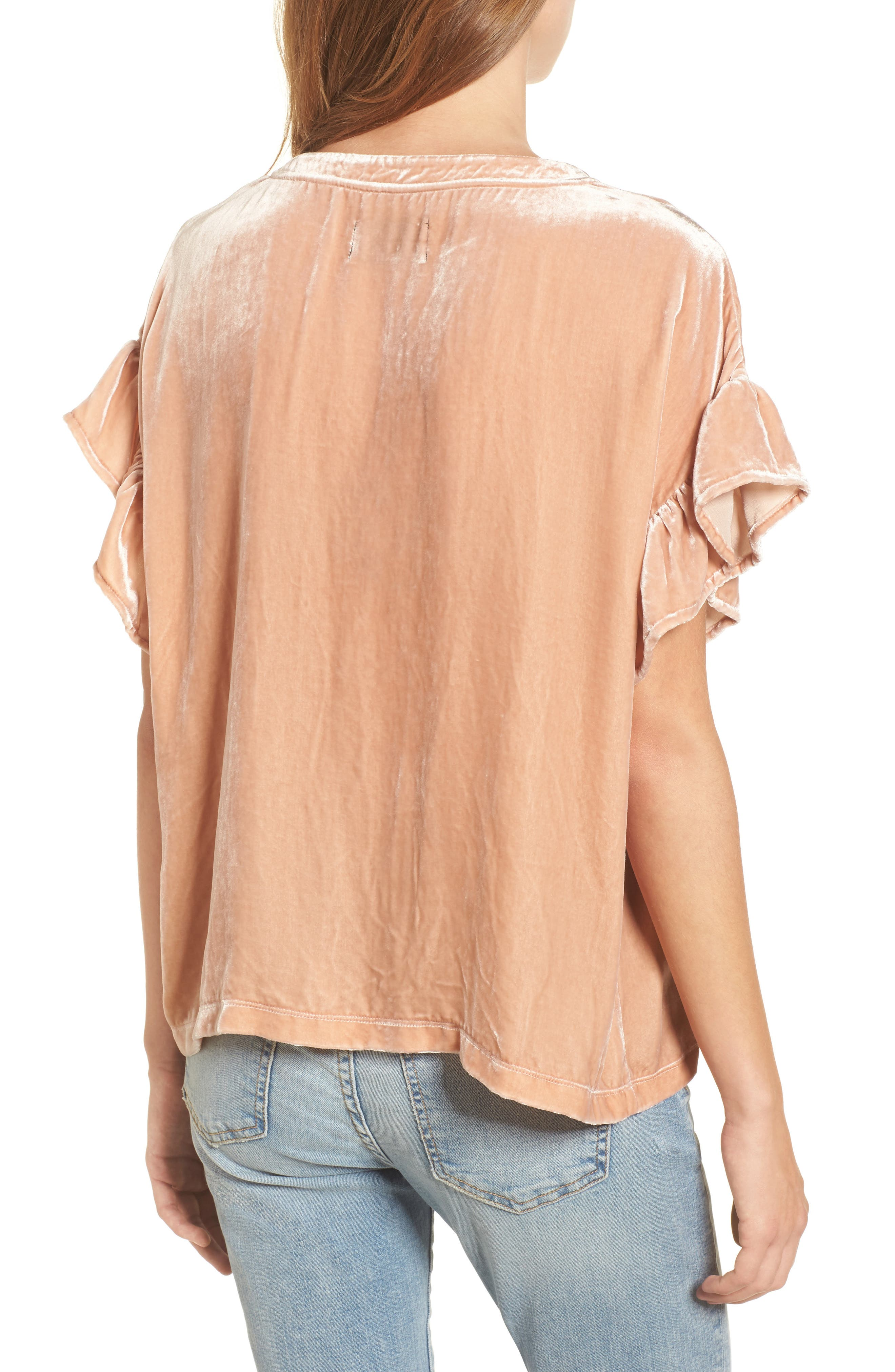 The Janie Velvet Top,                             Alternate thumbnail 2, color,                             Muted Misty Rose