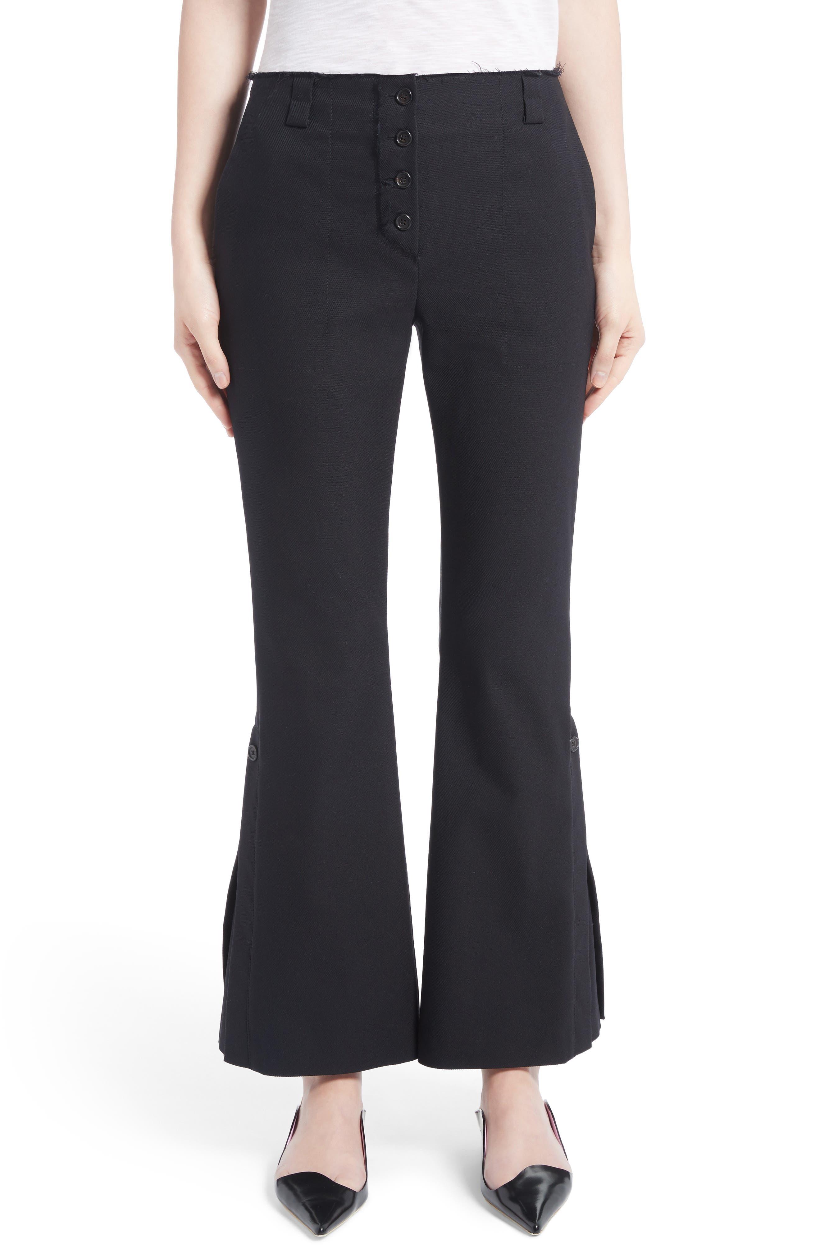 Stretch Cotton Blend Flare Pants,                         Main,                         color, Black