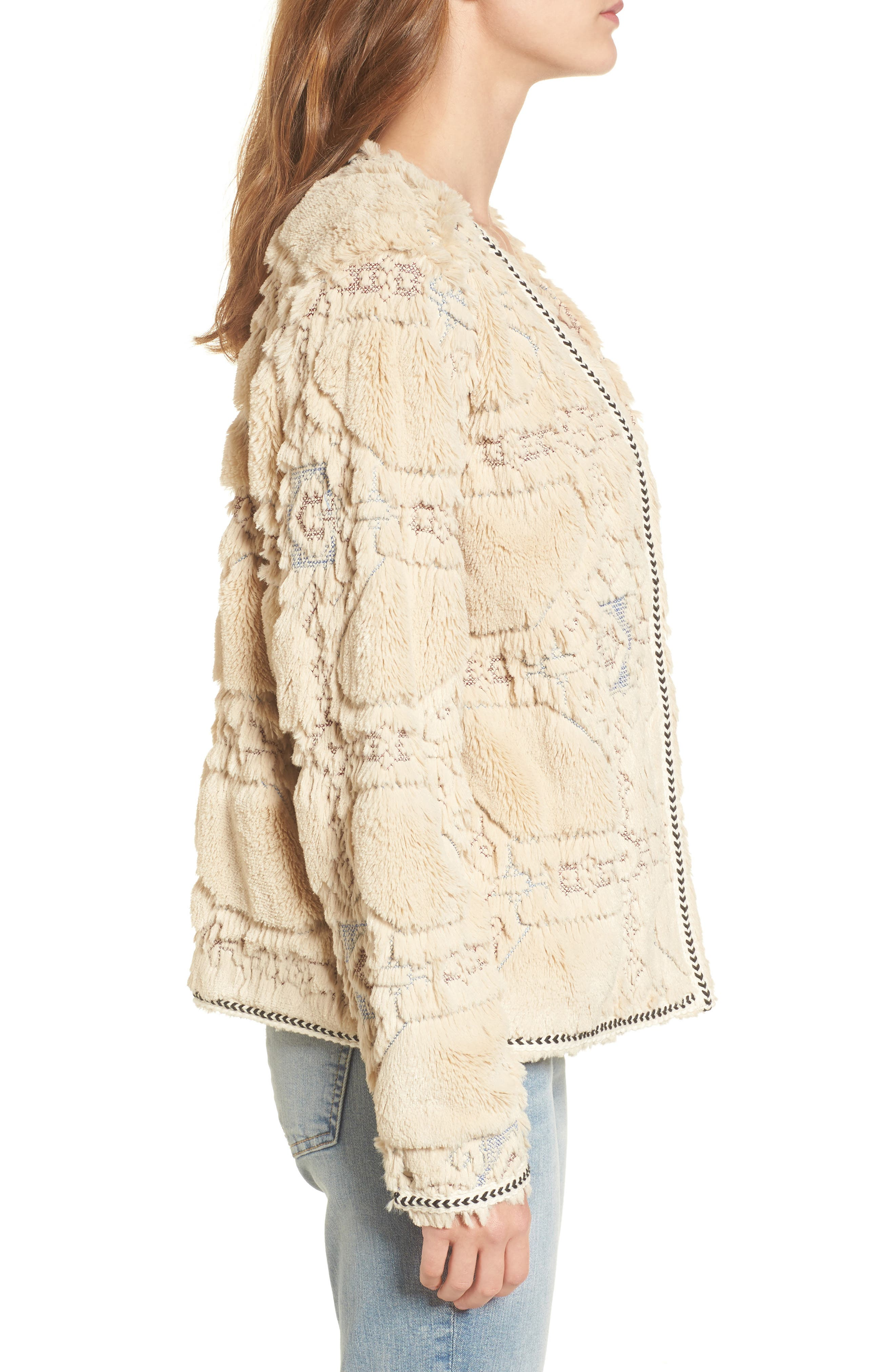 BNCI Embossed Faux Fur Cardigan,                             Alternate thumbnail 3, color,                             Cream