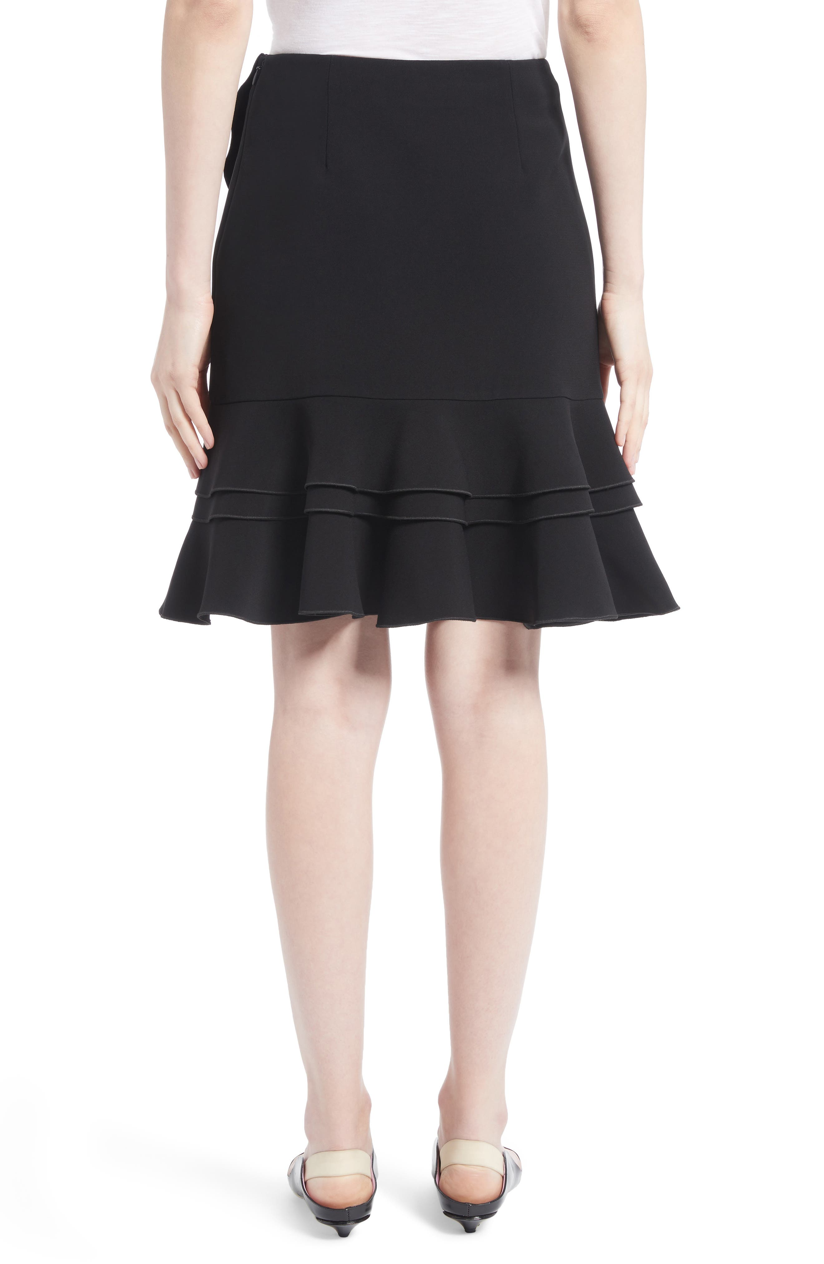 Ruffle Stretch Cady Skirt,                             Alternate thumbnail 2, color,                             Black