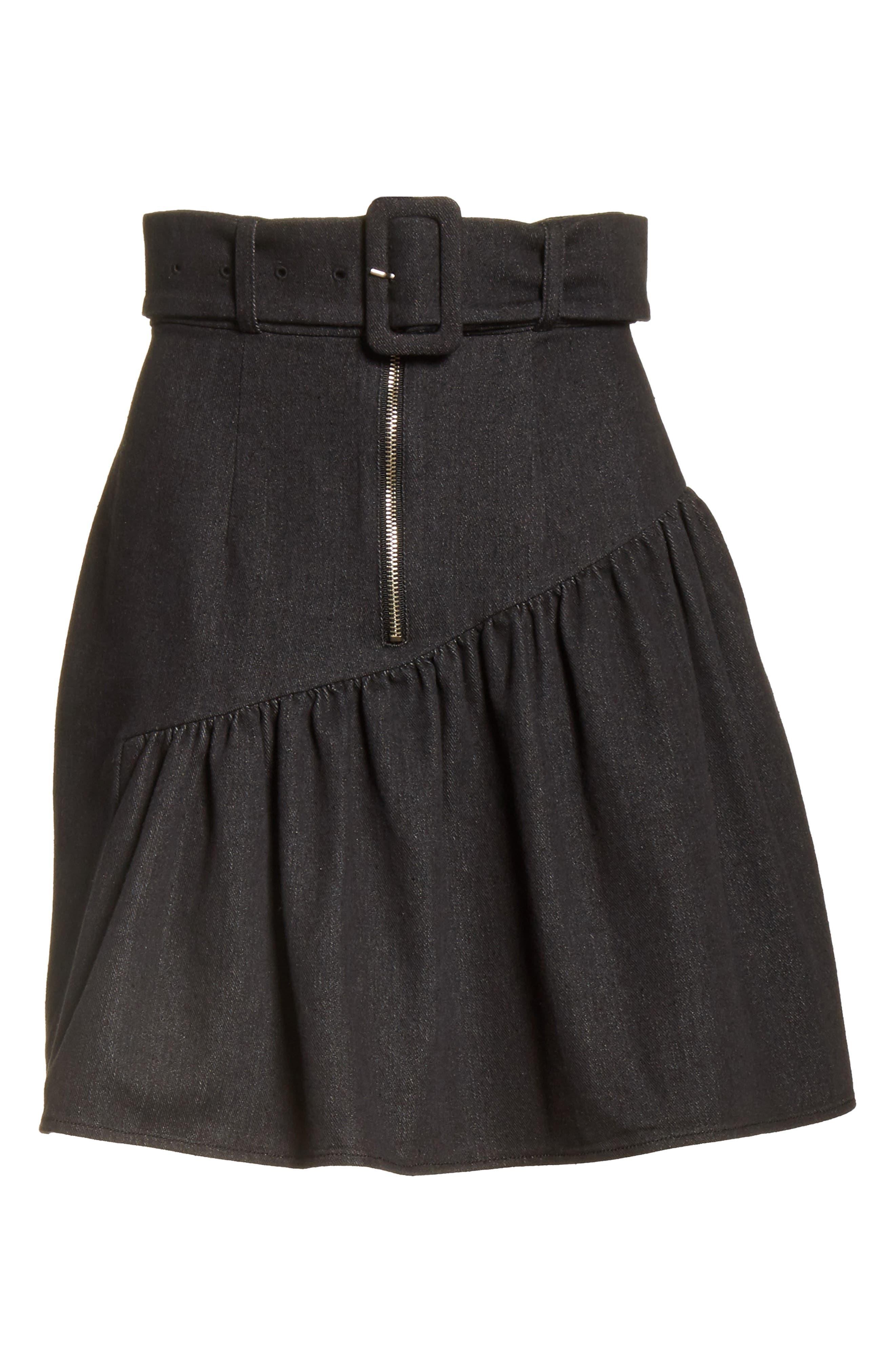 Belted Ruffle Denim Miniskirt,                             Alternate thumbnail 7, color,                             Cotton Denim Black