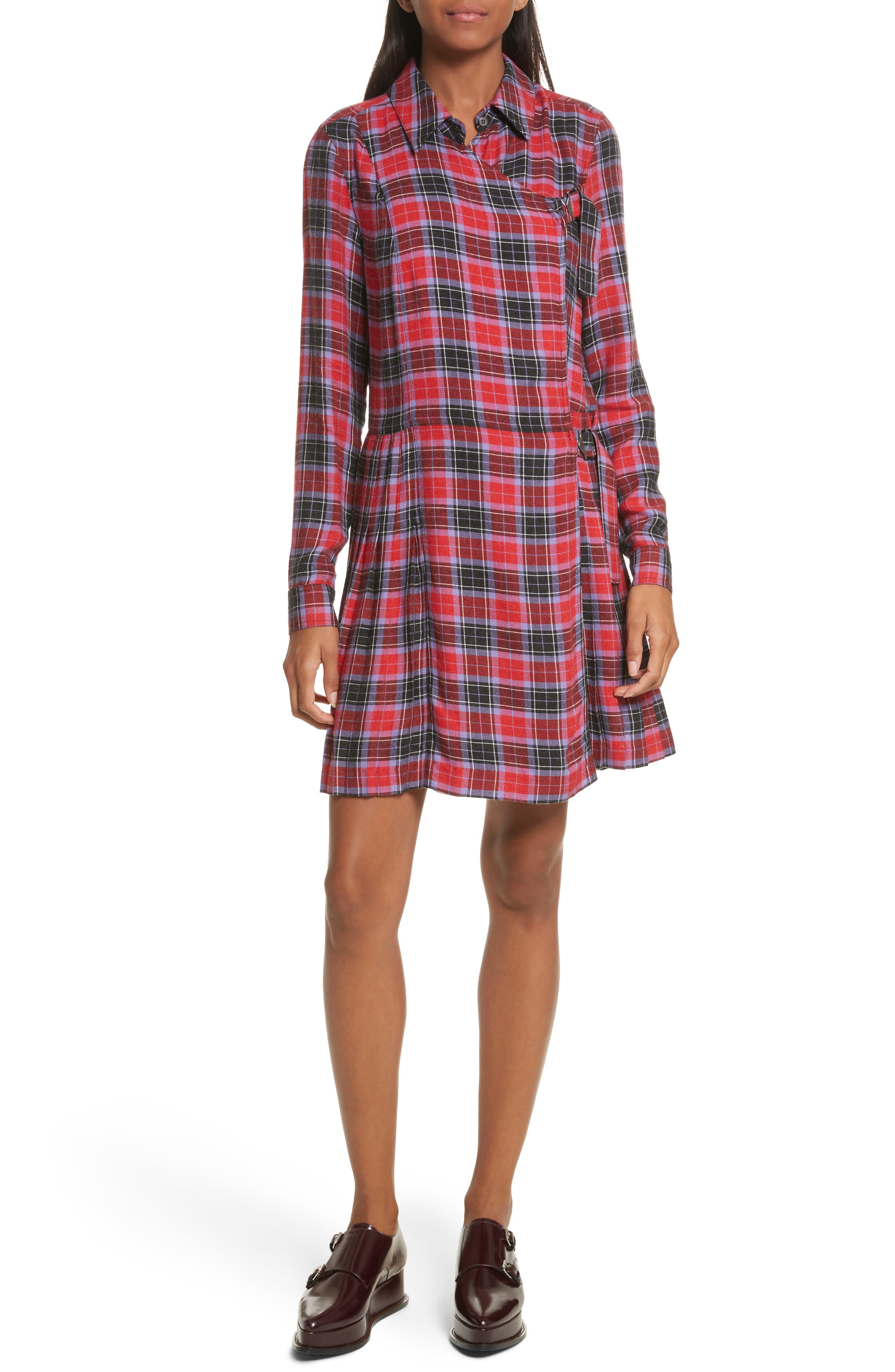 Flannel Kilt Dress,                             Main thumbnail 1, color,                             Jewel Red Multi