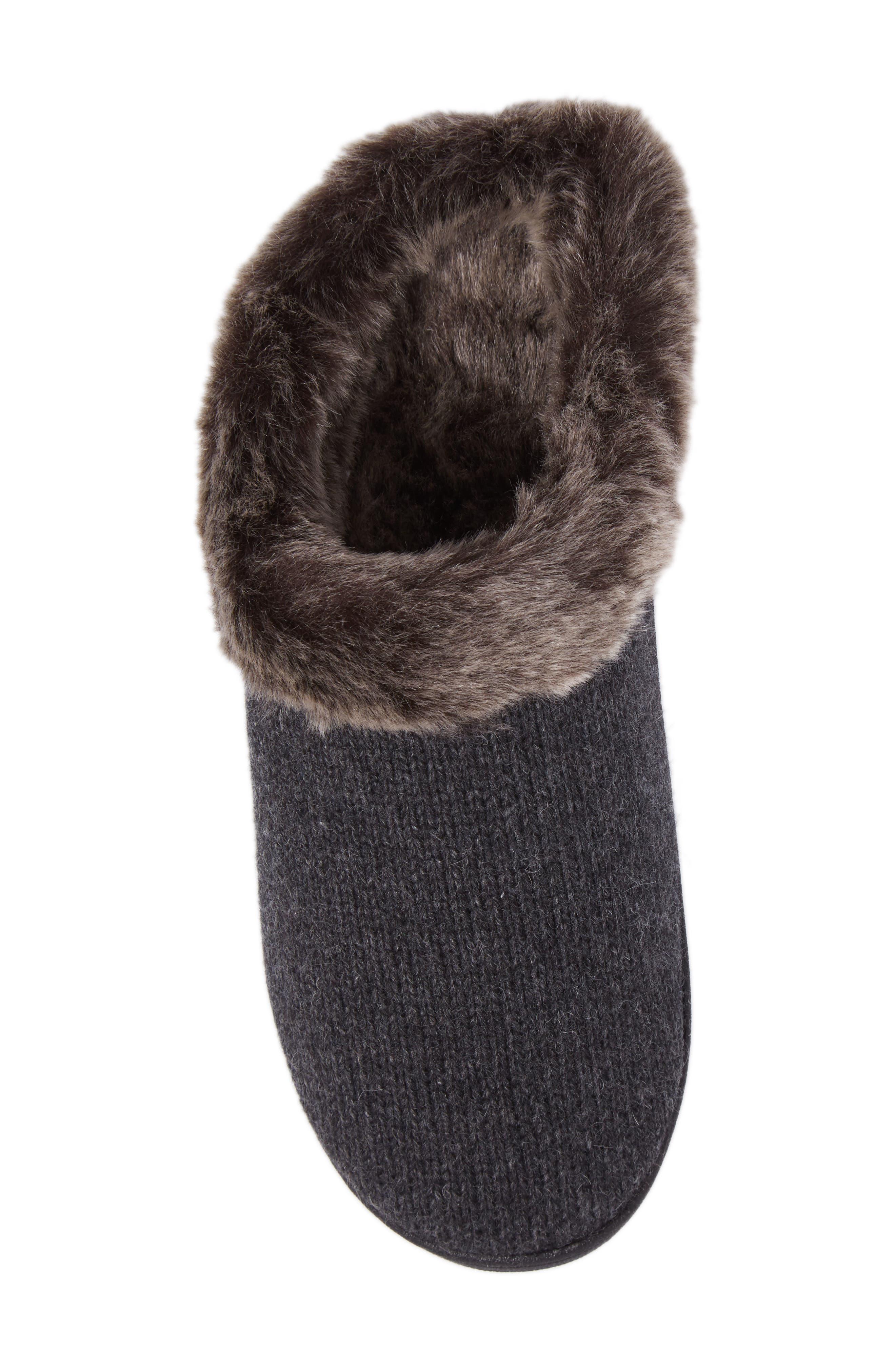 Chinchilla Faux Fur Slipper,                             Alternate thumbnail 5, color,                             Dark Charcoal Heather