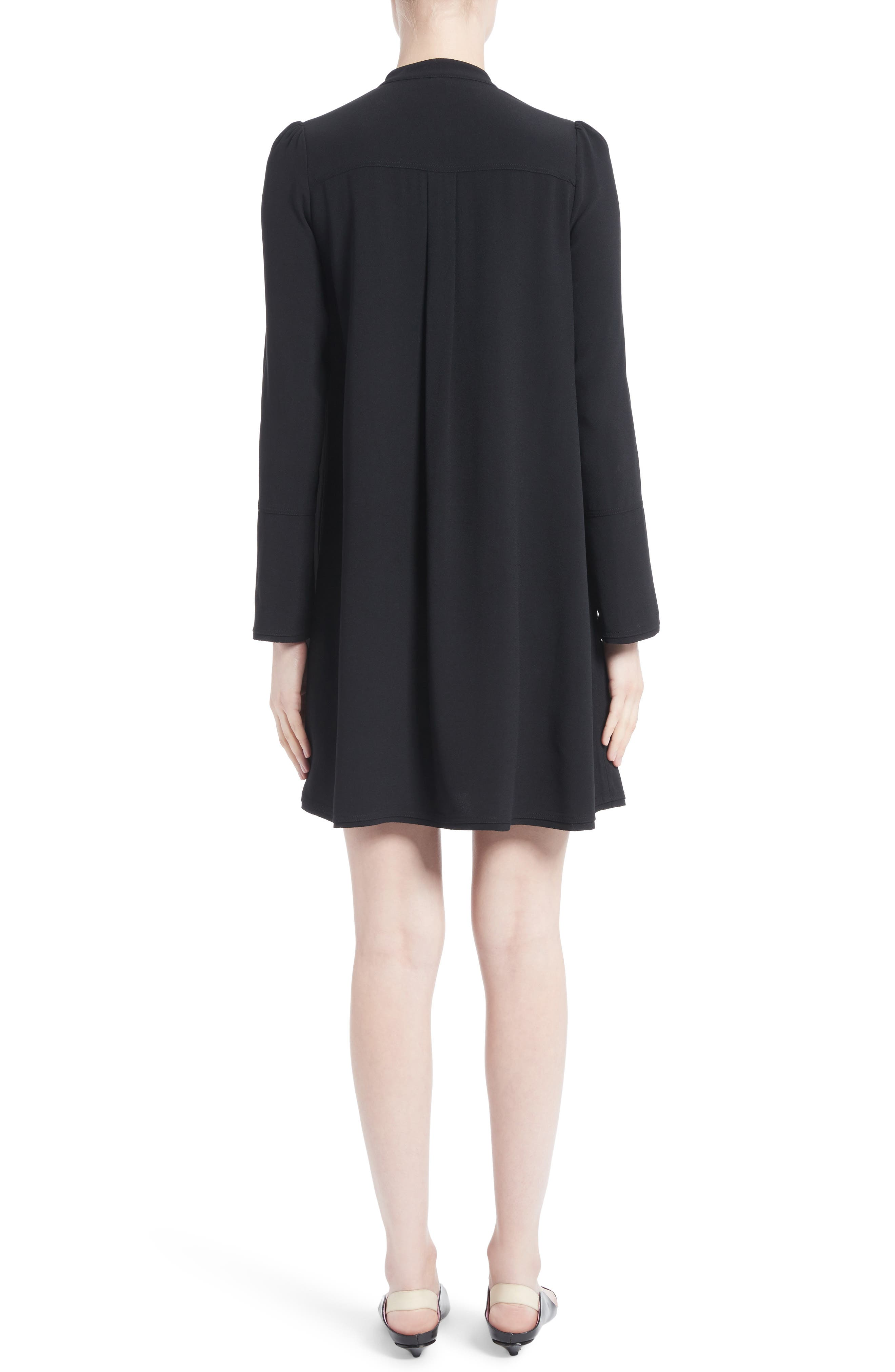 Ruffle Satin Backed Crepe Dress,                             Alternate thumbnail 2, color,                             Black