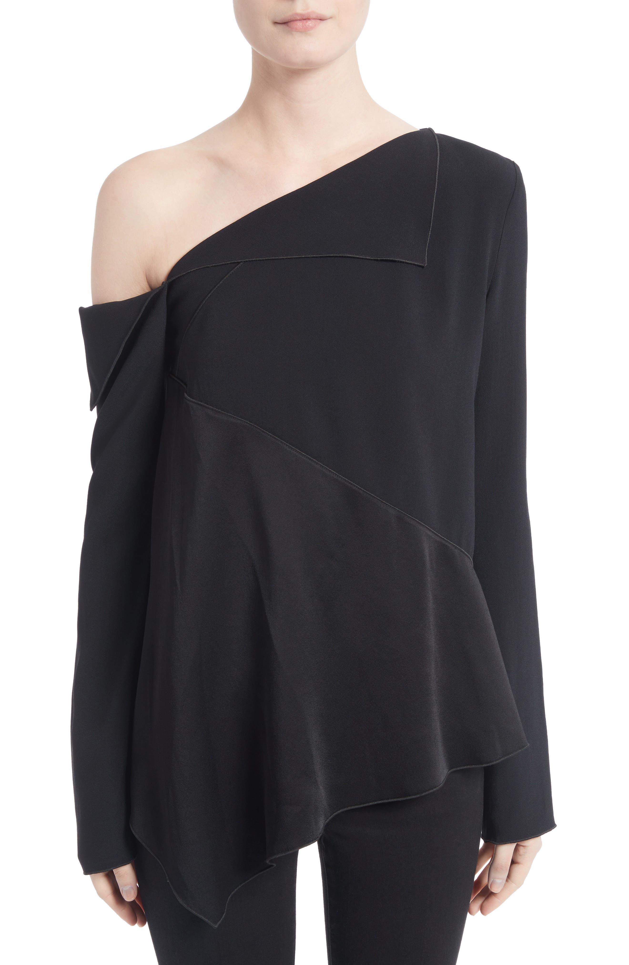 Single Shoulder Satin Back Crepe Blouse,                             Main thumbnail 1, color,                             Black