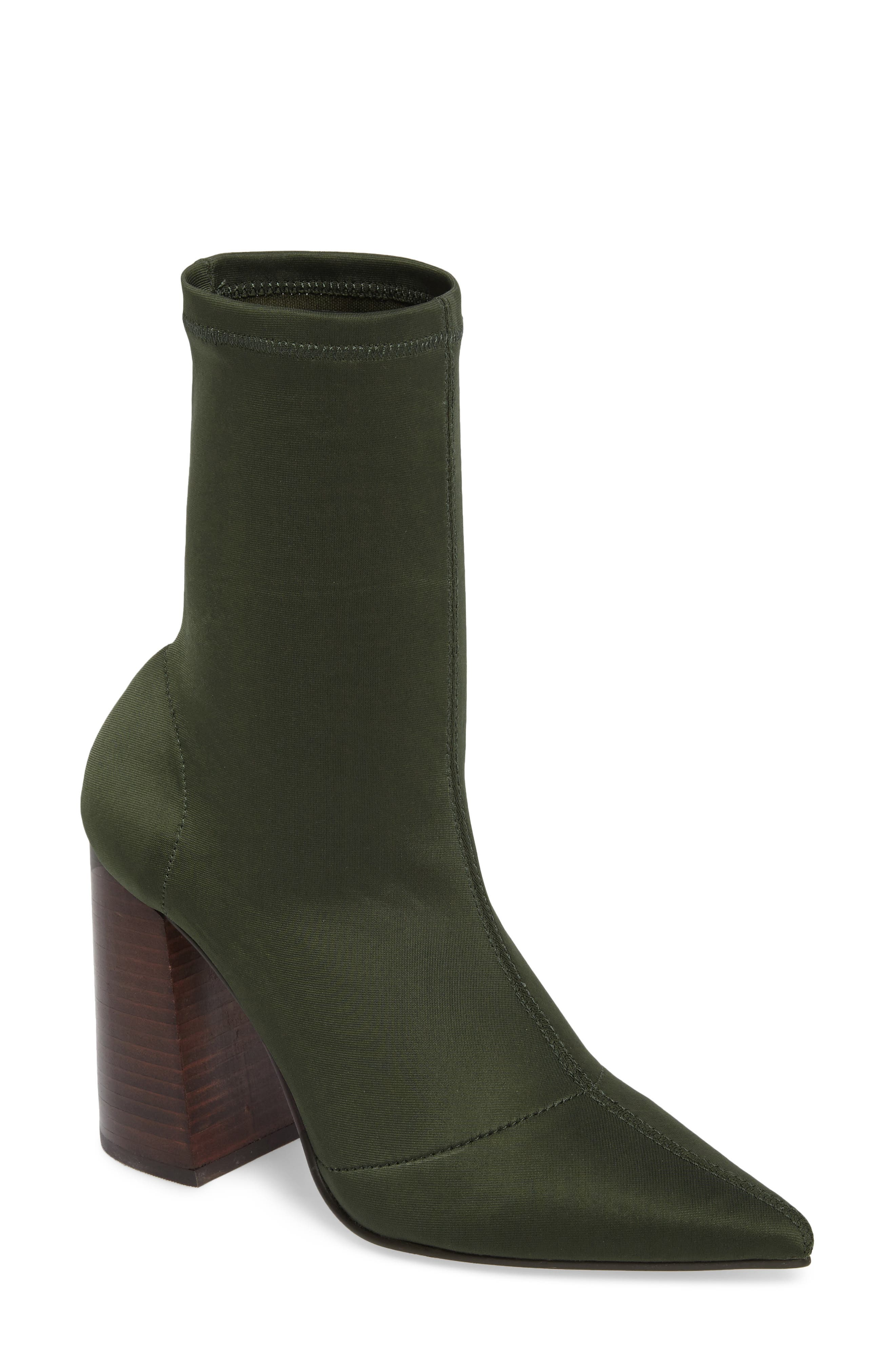 Lombard Pointy Toe Sock Bootie,                         Main,                         color, Olive