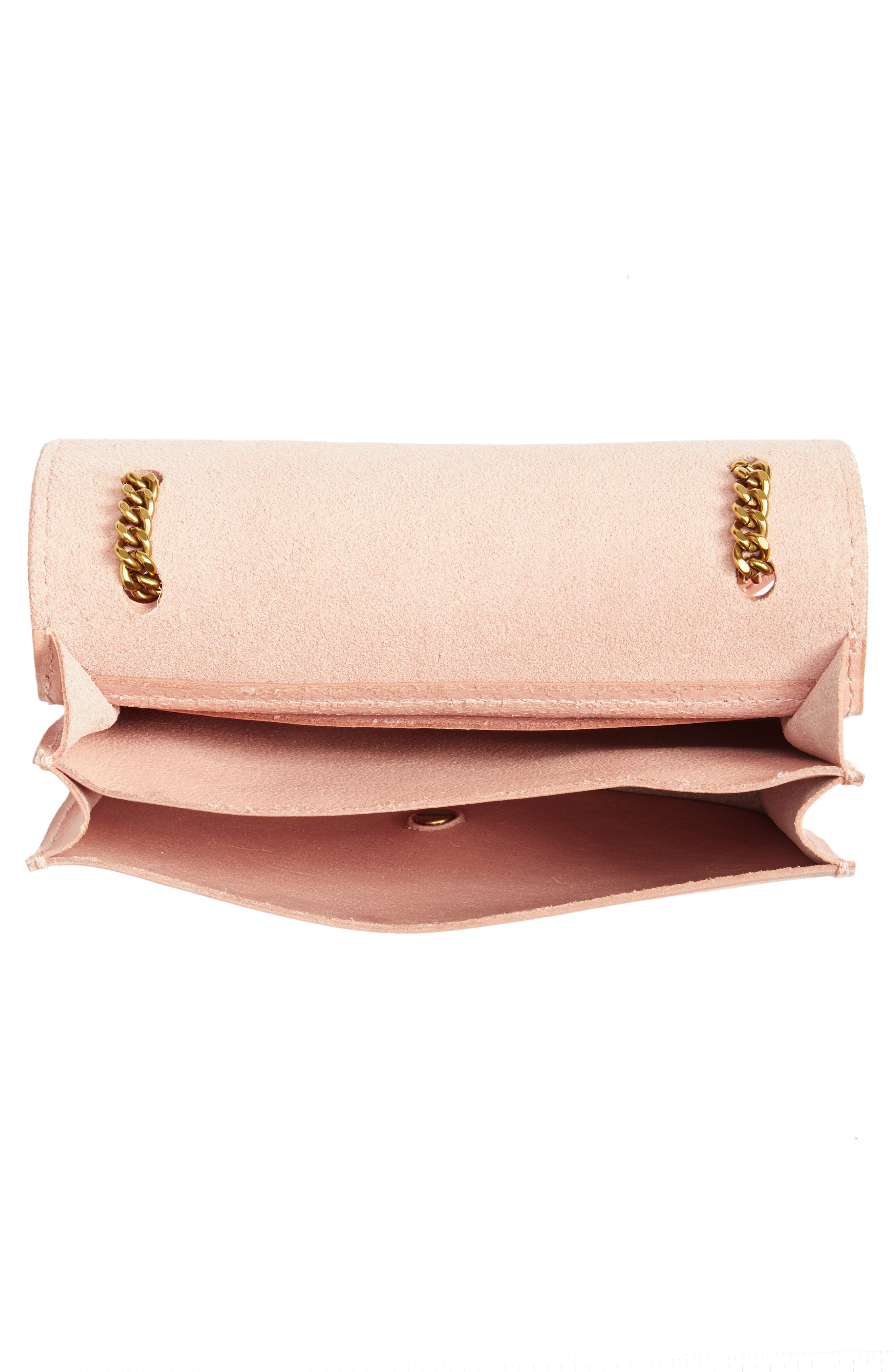Leather Crossbody Wallet,                             Alternate thumbnail 4, color,                             Tinted Blush