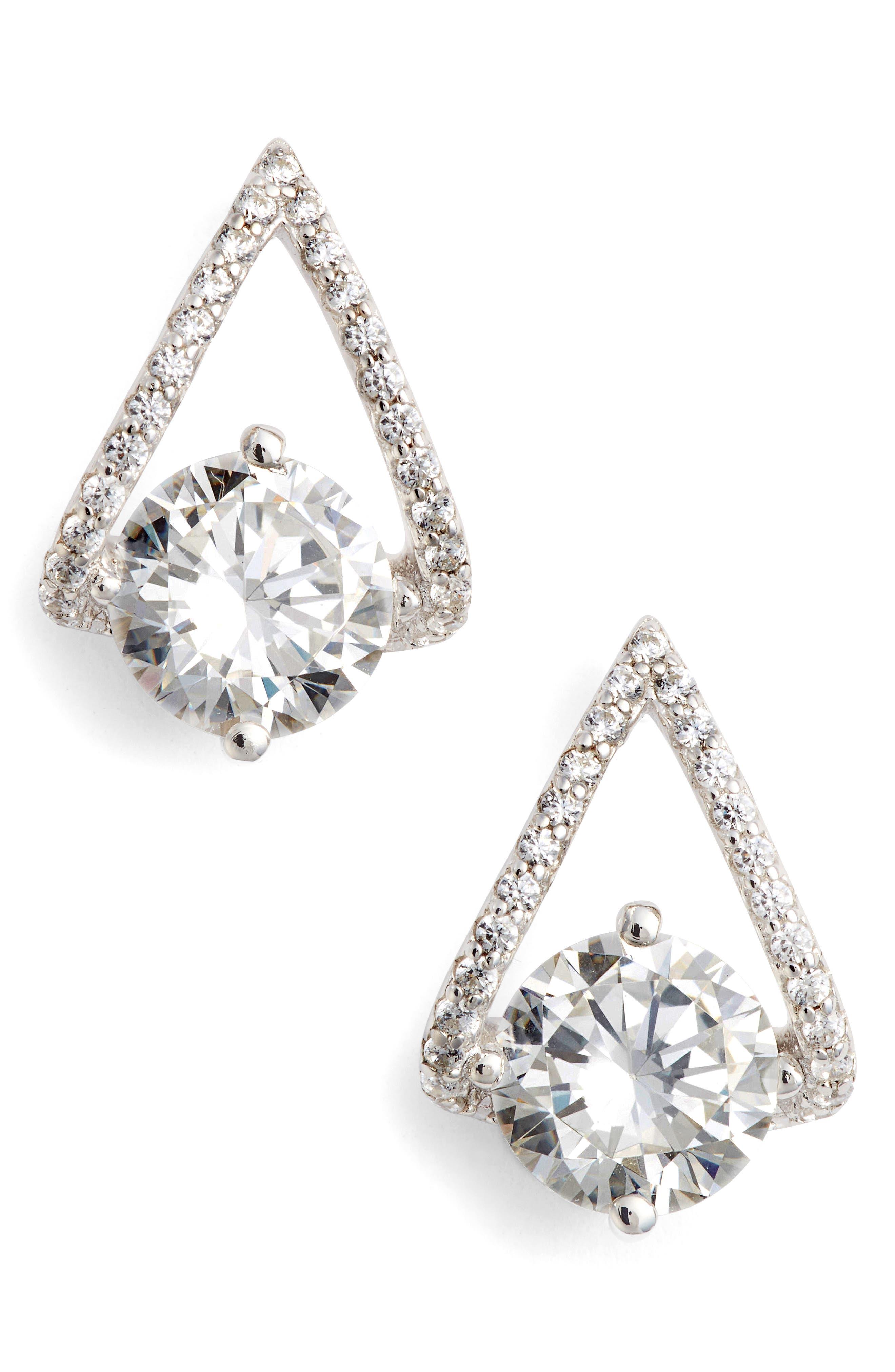 Simulated Diamond Drop Earrings,                         Main,                         color, Silver/ Clear