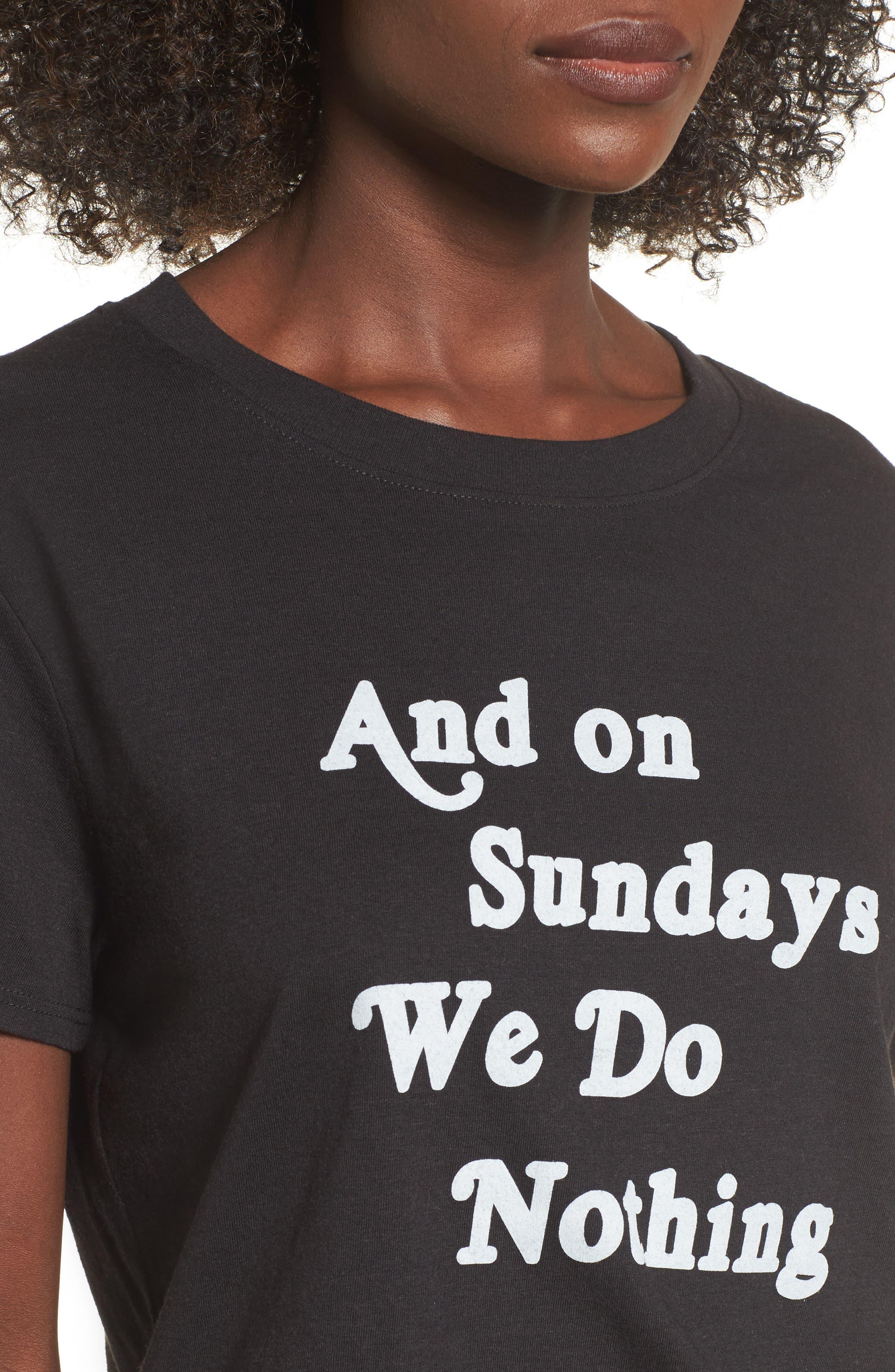 On Sundays Graphic Tee,                             Alternate thumbnail 4, color,                             Black