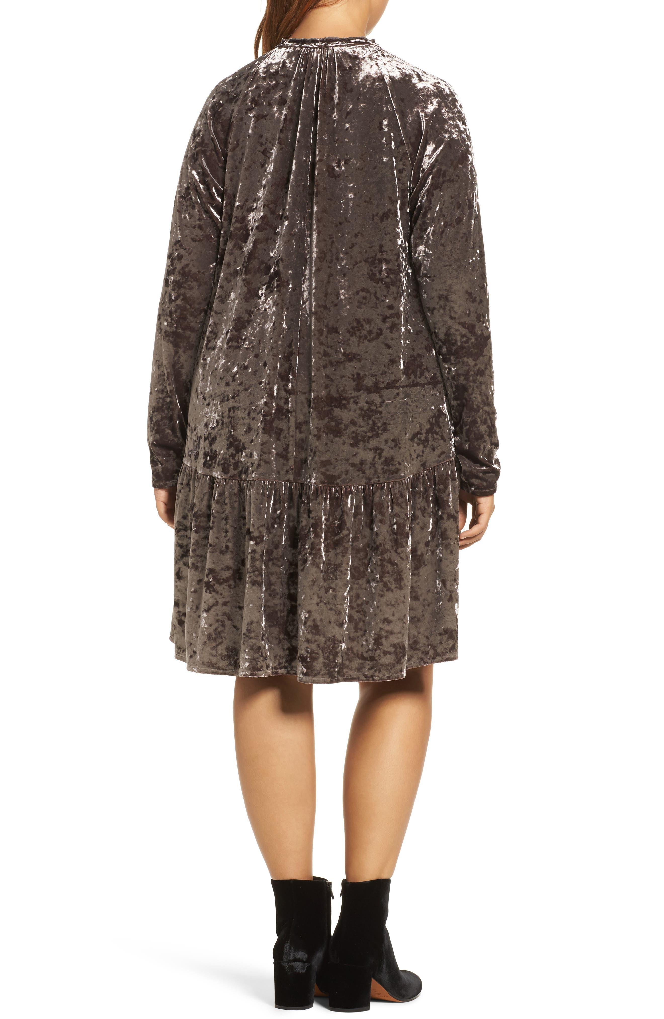 Alternate Image 2  - ELVI Drop Waist Crushed Velvet Dress (Plus Size)