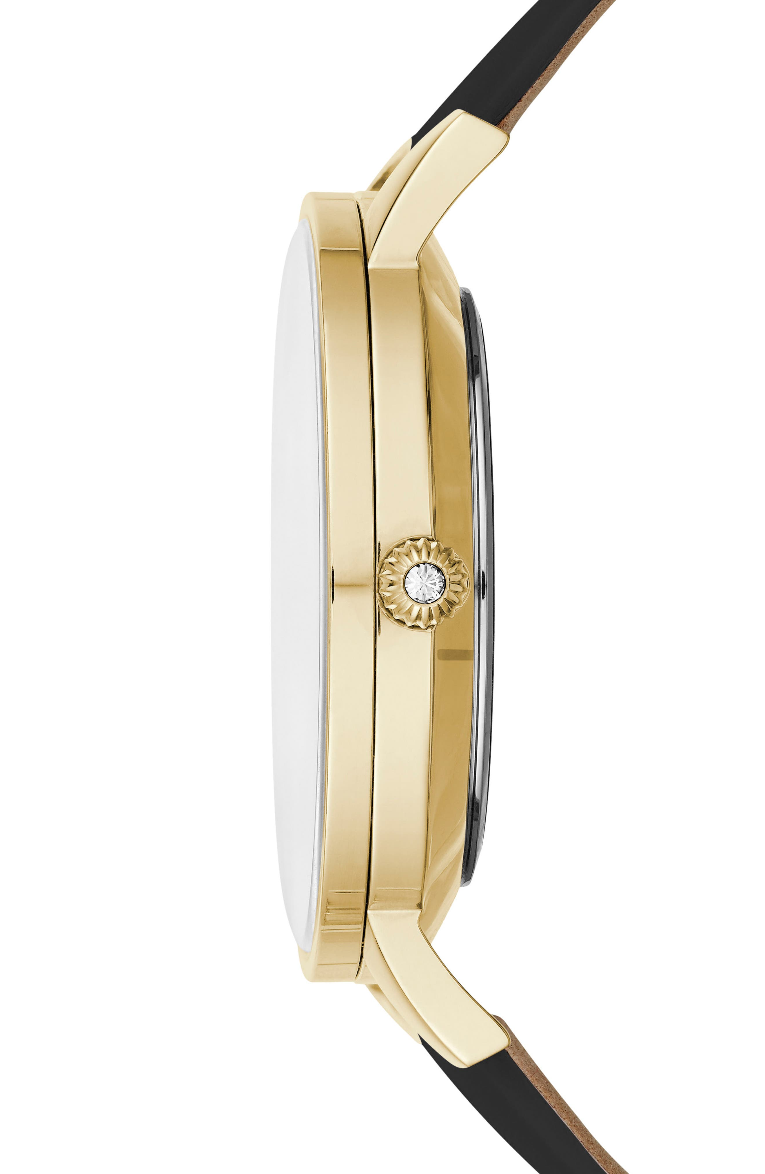 Kate Leather Strap Watch, 38mm,                             Alternate thumbnail 3, color,                             Black/ Mop/ Gold