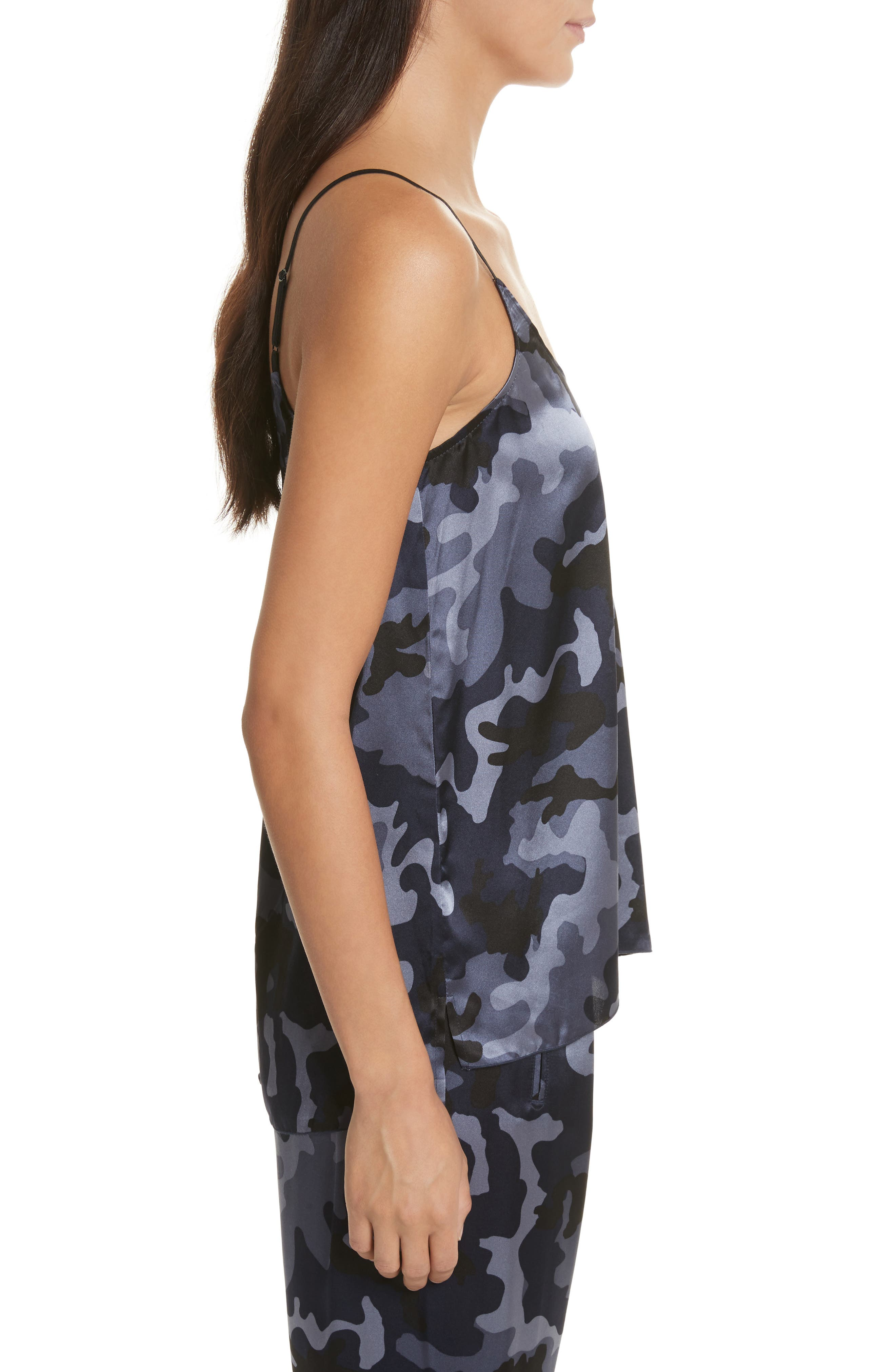 Camo Garment Washed Silk Tank,                             Alternate thumbnail 3, color,                             Blue Camo
