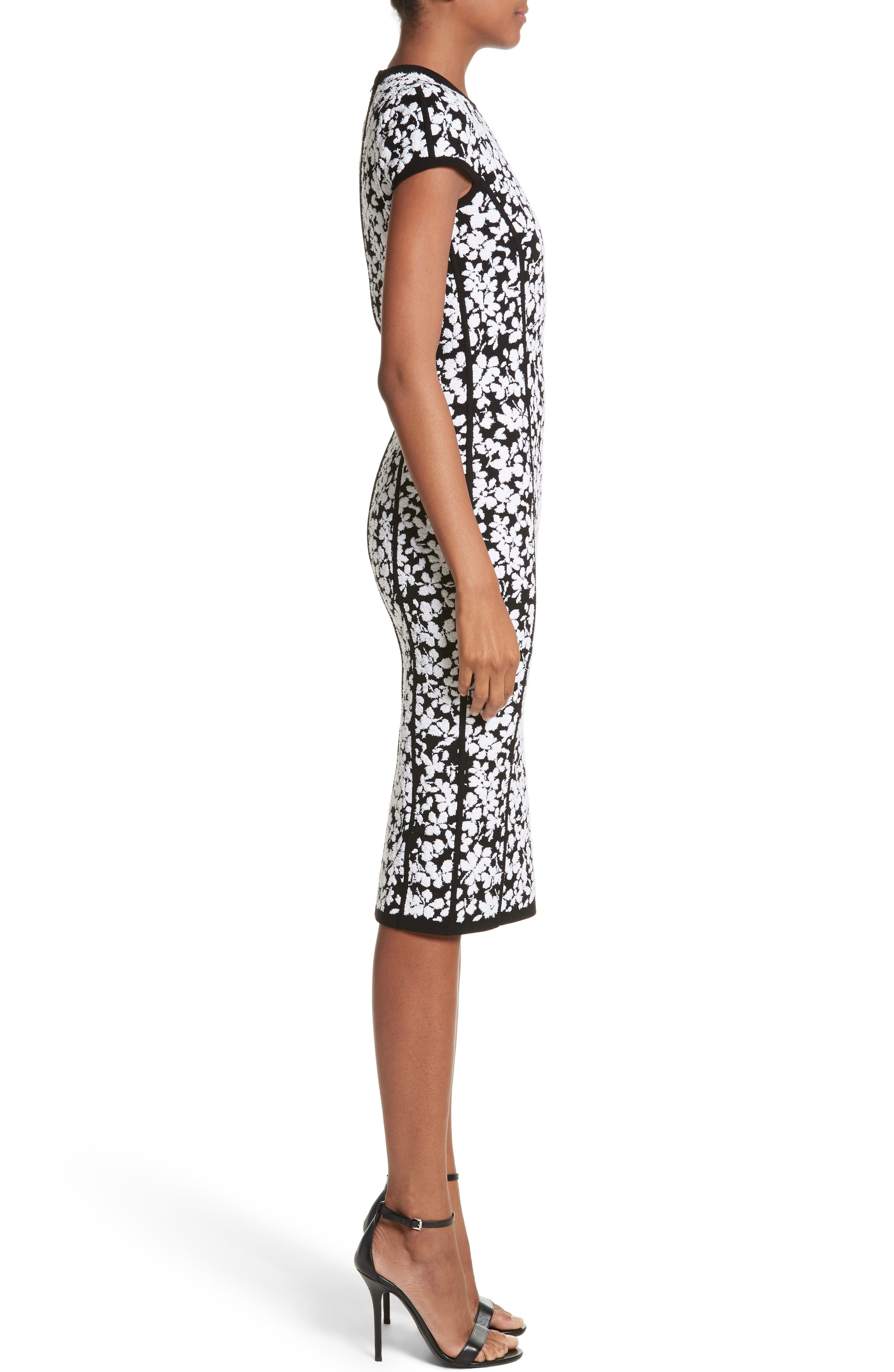 Floral Jacquard Sheath Dress,                             Alternate thumbnail 3, color,                             Black