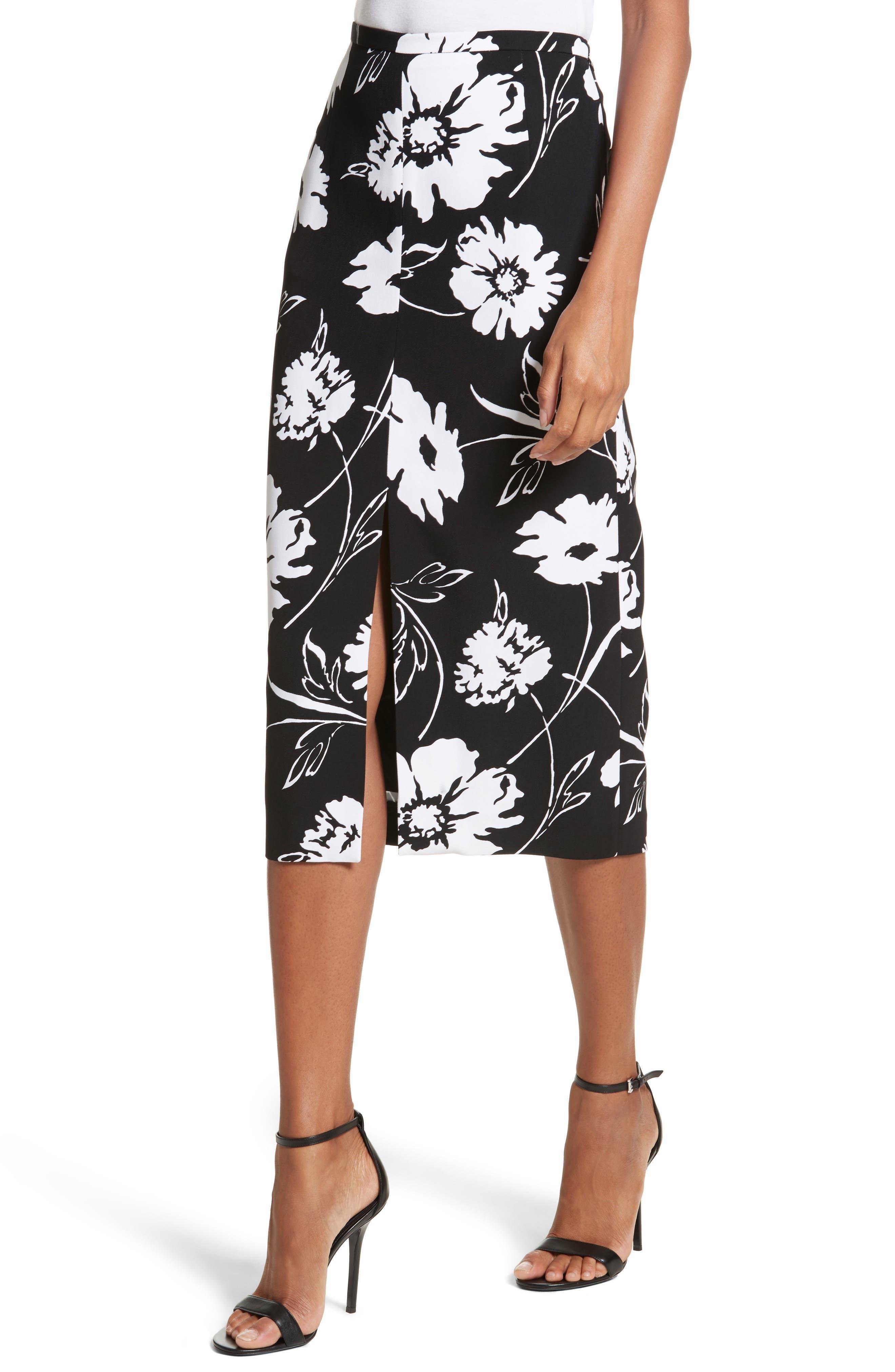 Floral Print Pencil Skirt,                             Alternate thumbnail 4, color,                             Black / White