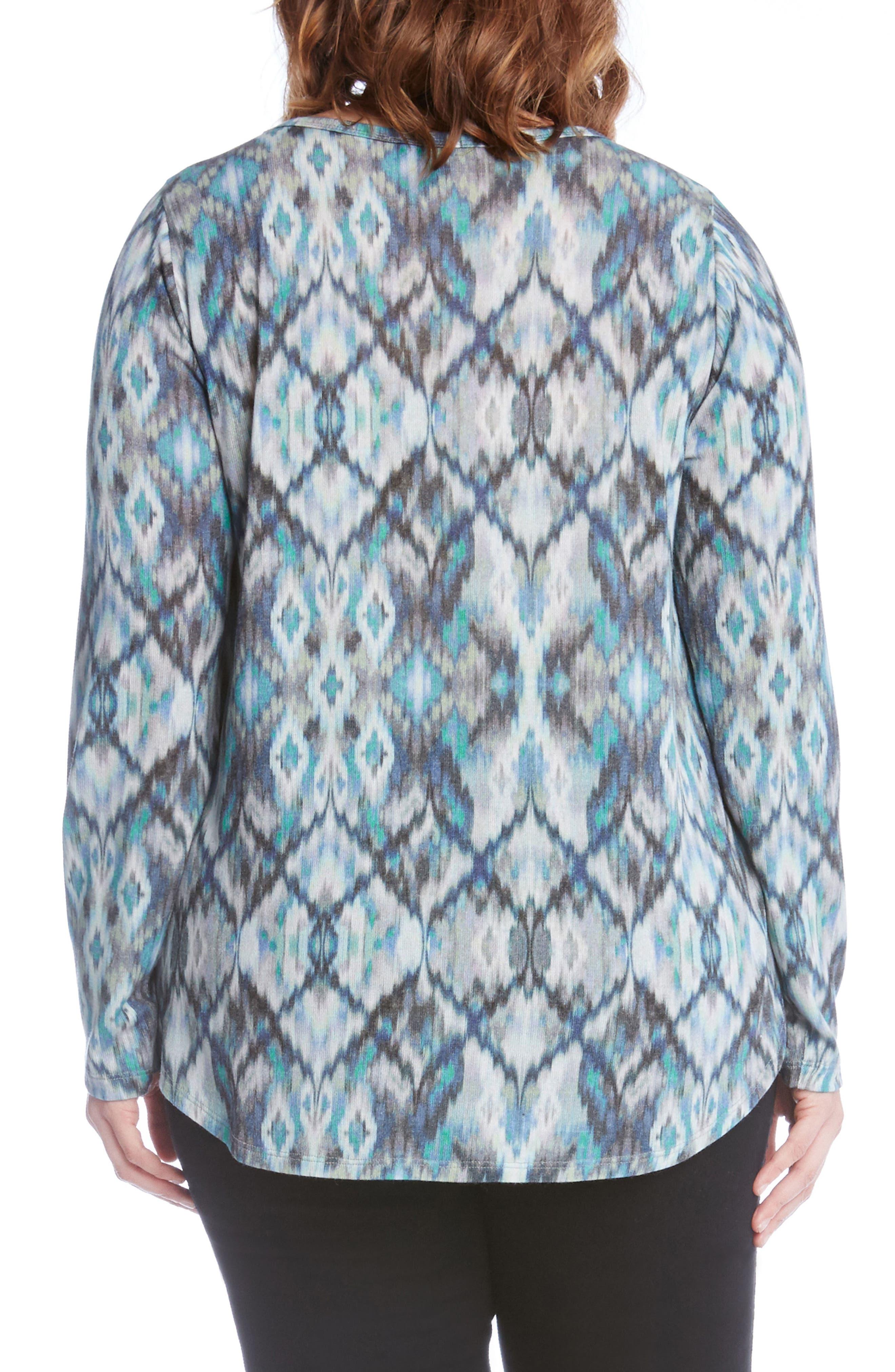 Alternate Image 3  - Karen Kane Print Shirttail Top (Plus Size)