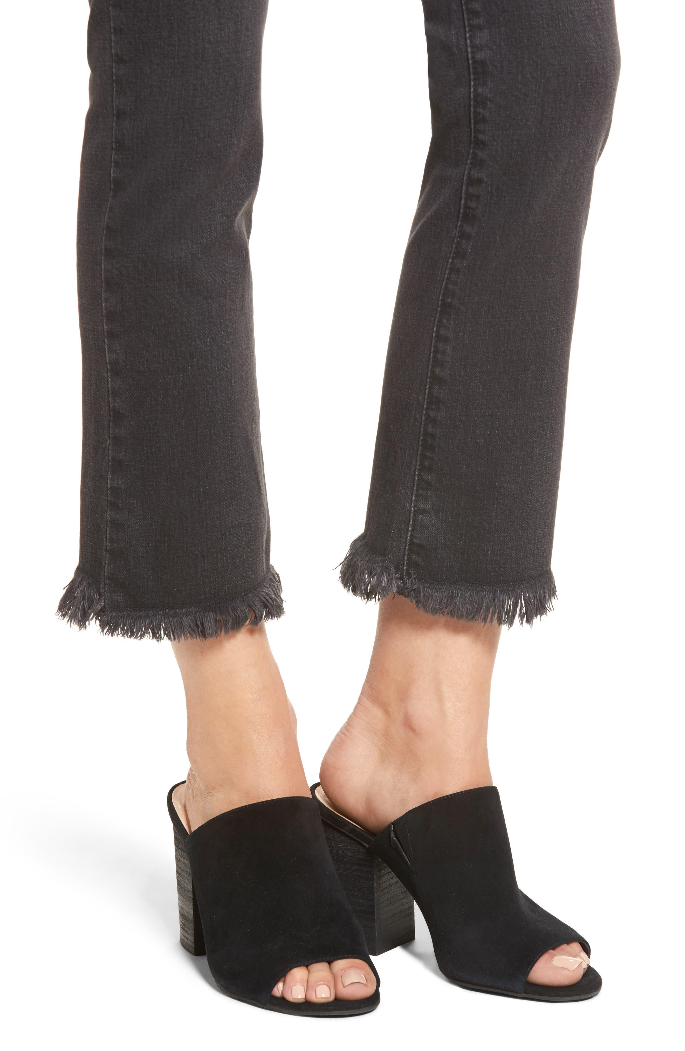 Hermosa Fray Hem Ankle Skinny Jeans,                             Alternate thumbnail 4, color,                             Black