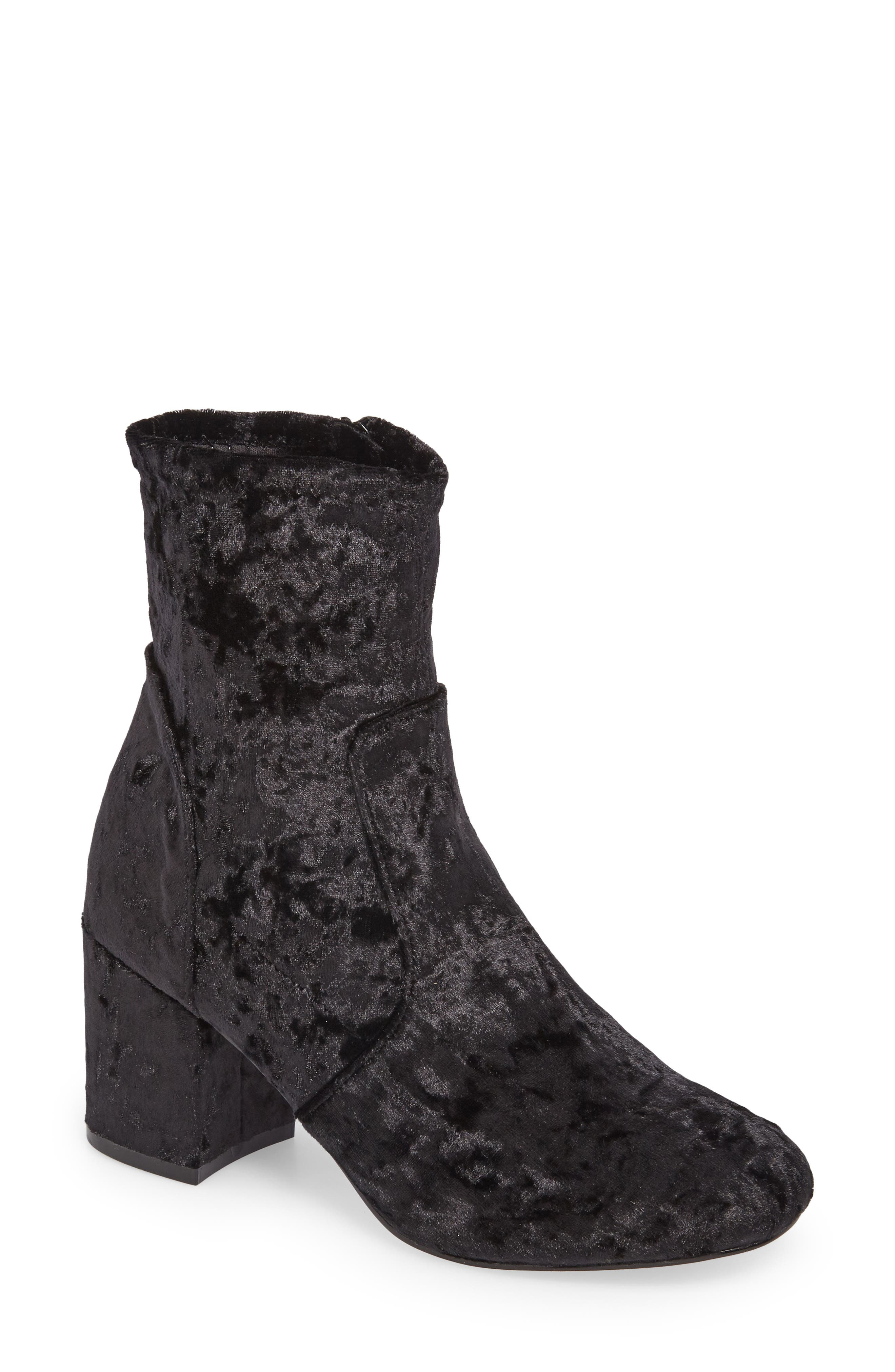 Eclipse Velvet Sock Bootie,                             Main thumbnail 1, color,                             Black