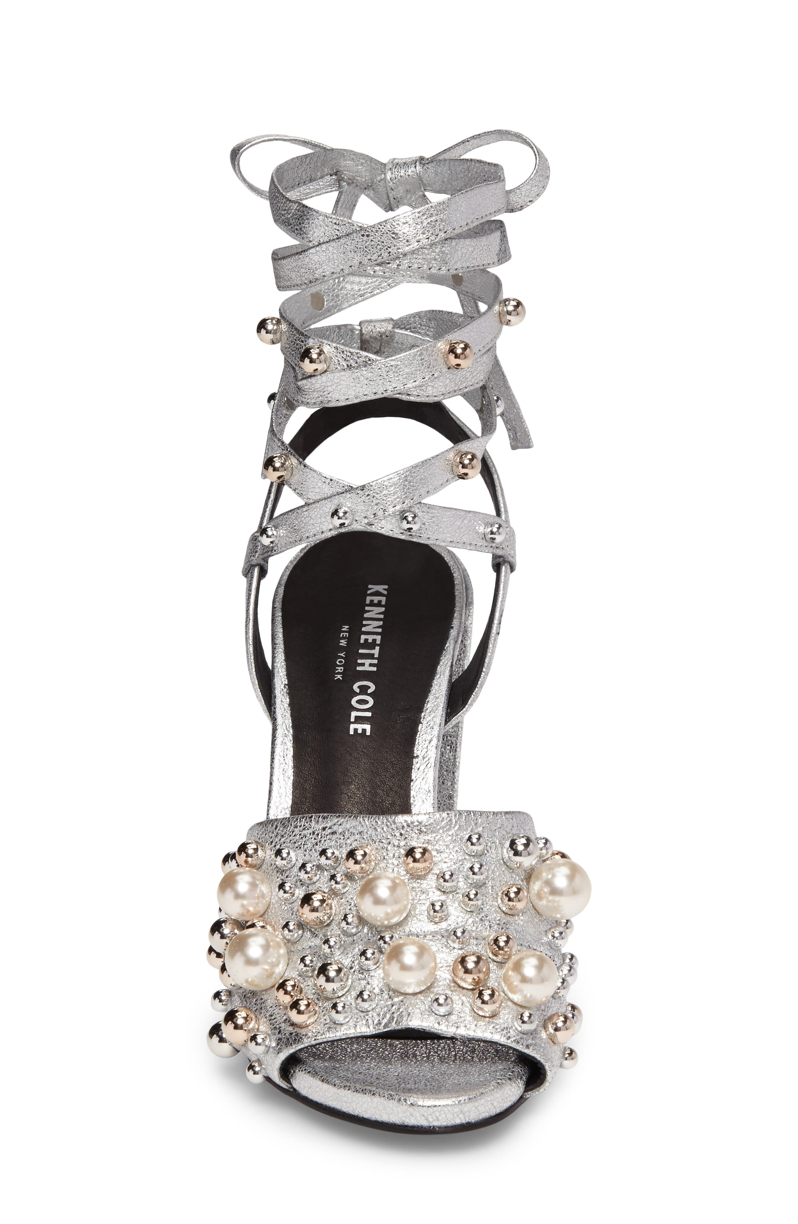 Dierdre Embellished Sandal,                             Alternate thumbnail 4, color,                             Nickel Leather