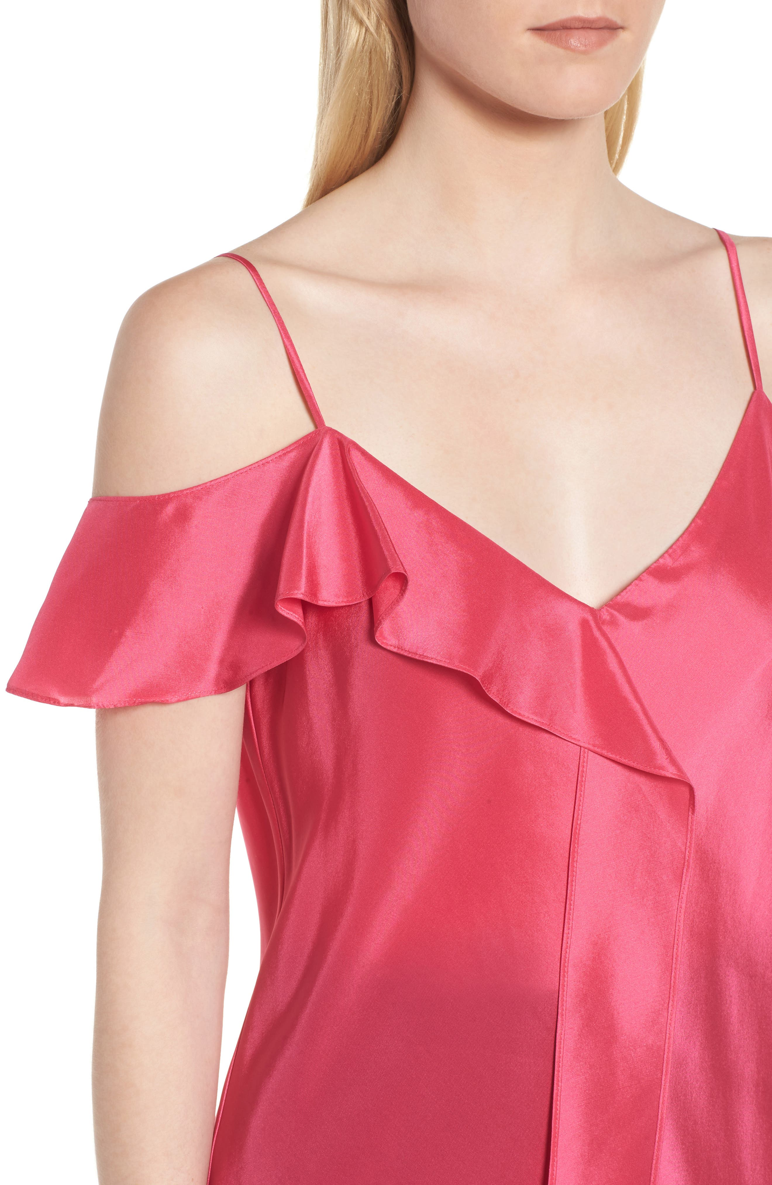 Ruffle Silk Camisole,                             Alternate thumbnail 4, color,                             Pink Rouge
