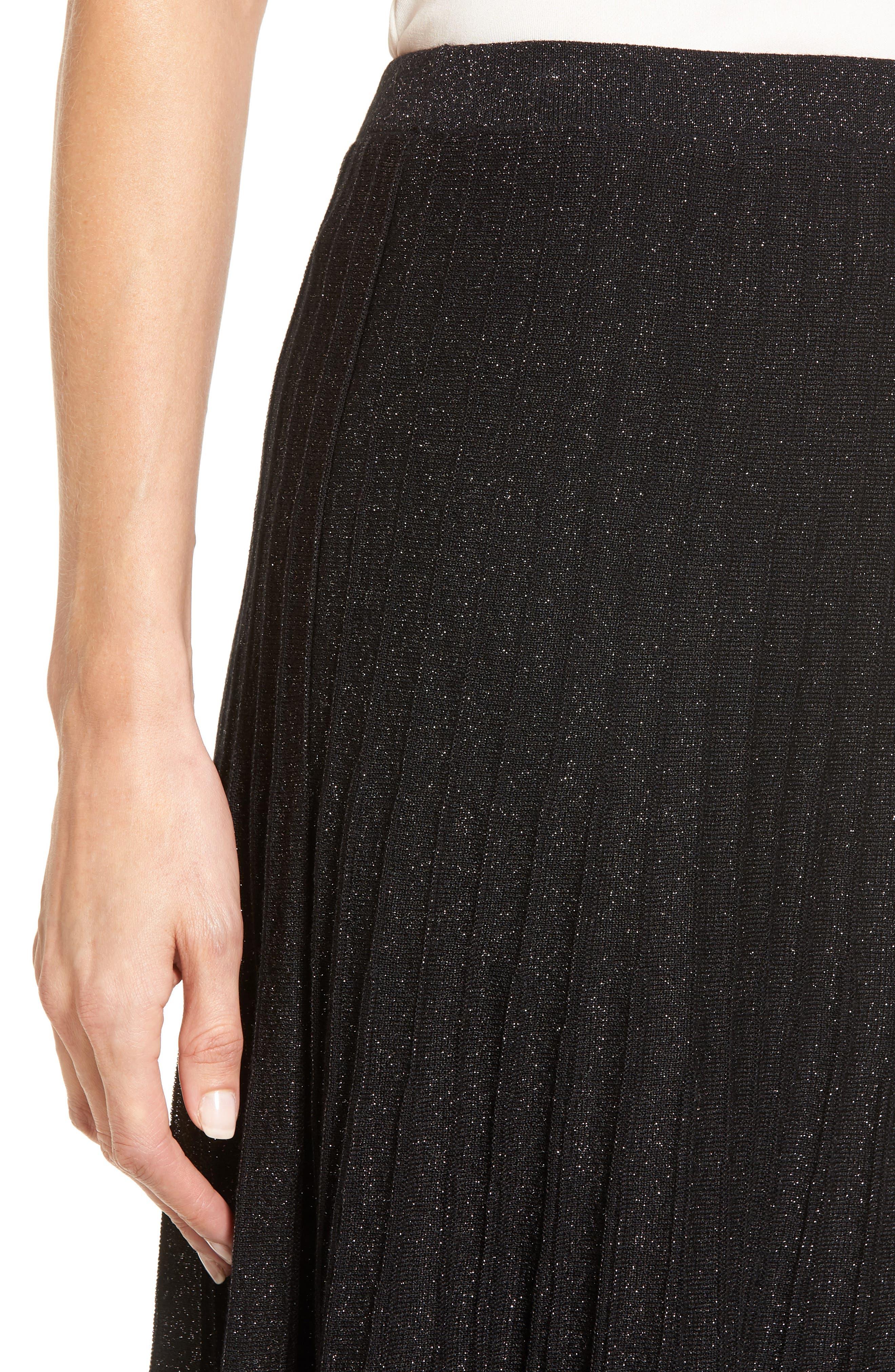Luminary Pleated Midi Skirt,                             Alternate thumbnail 4, color,                             Black Mix