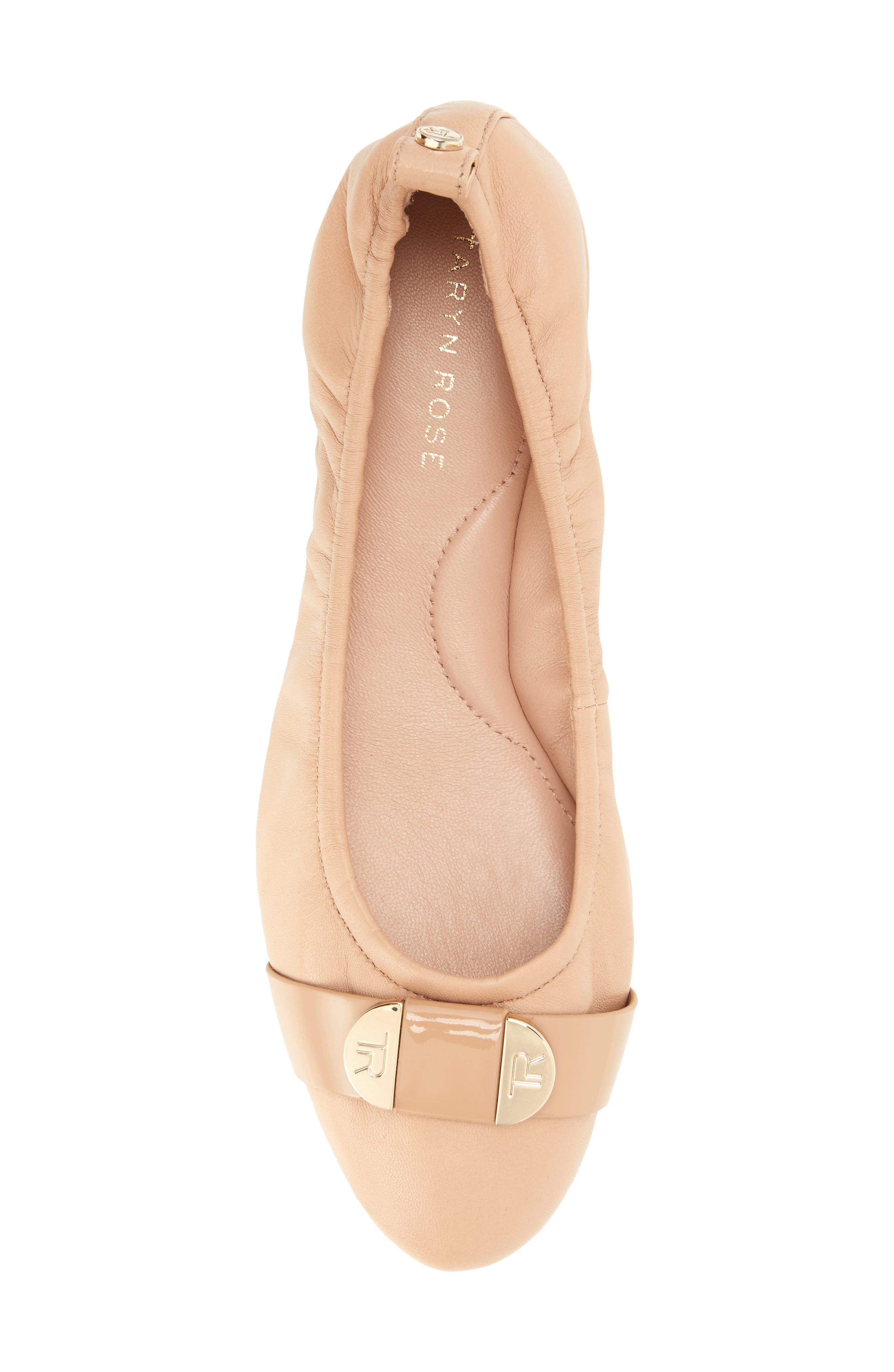 Abriana Ballet Flat,                             Alternate thumbnail 4, color,                             Nude Leather