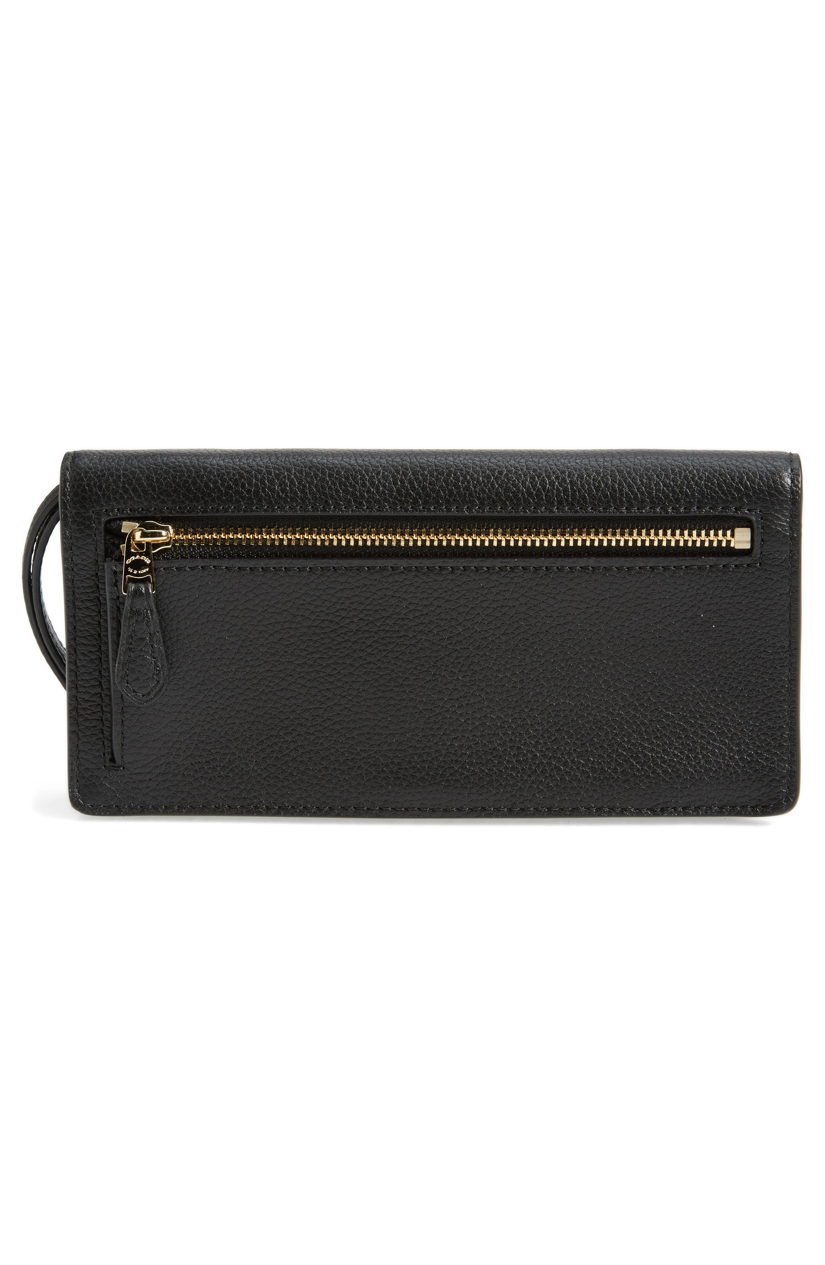 Slim Calfskin Leather Wristlet,                             Alternate thumbnail 3, color,                             Black