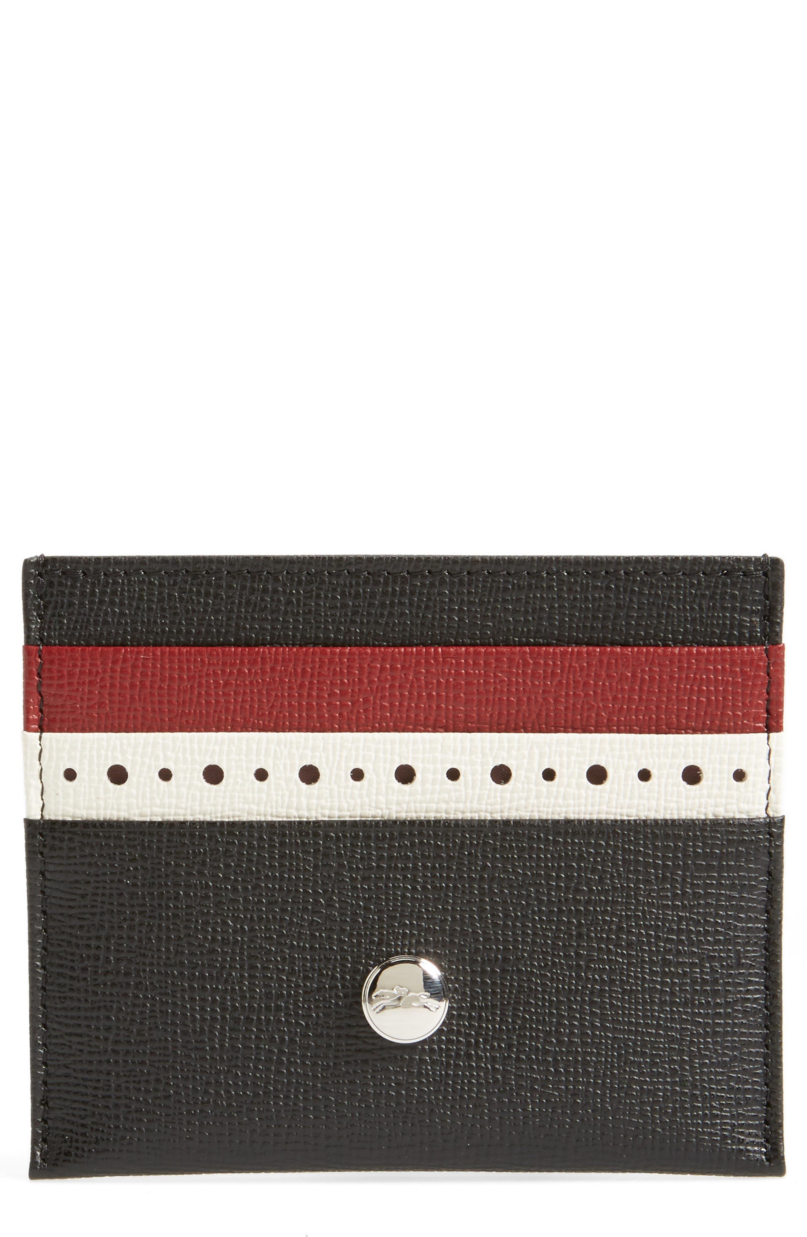 Effrontée Slim Leather Card Case,                             Main thumbnail 1, color,                             Red Lacquer