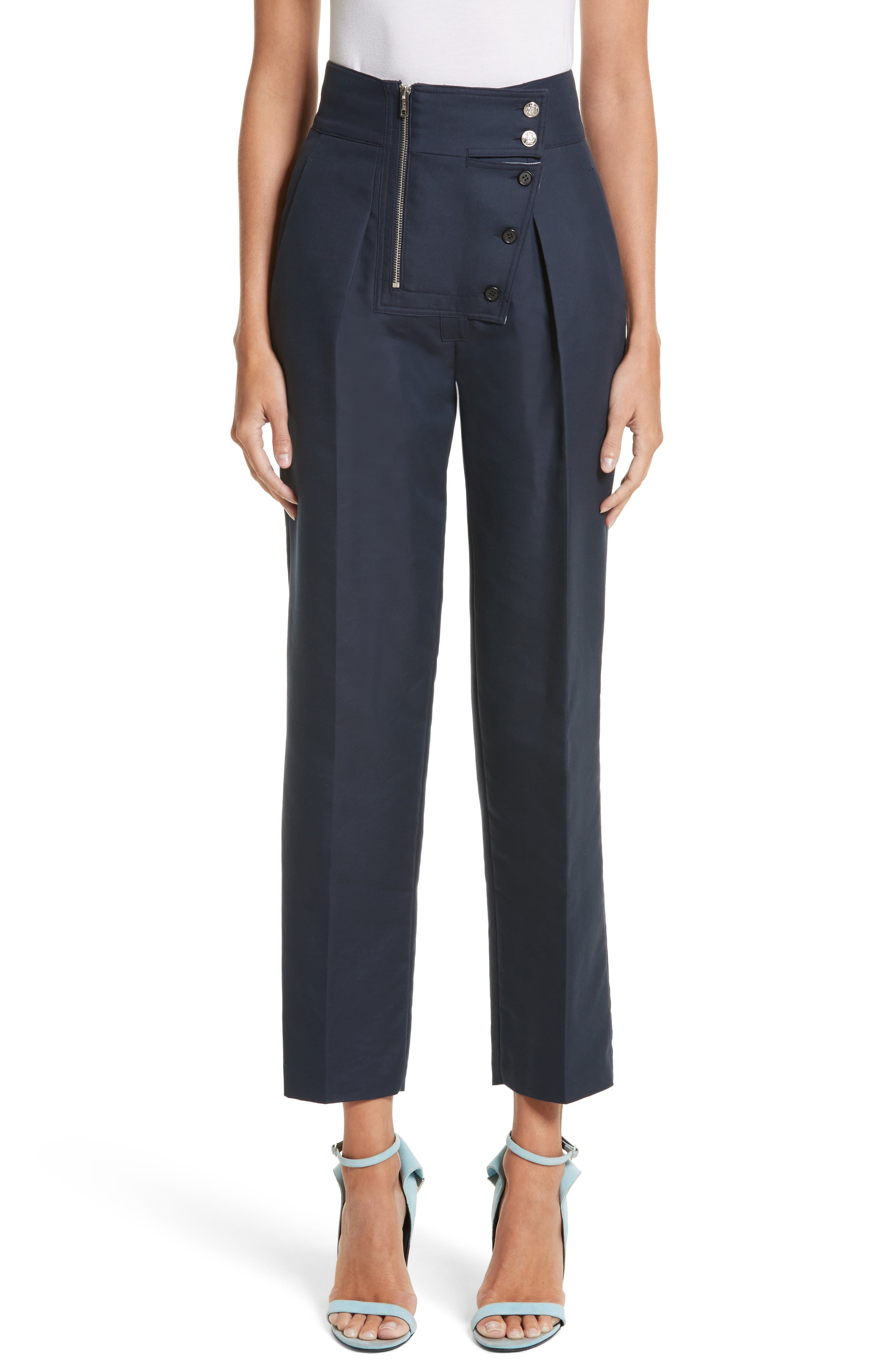 Cotton & Silk Sailor Pants,                             Main thumbnail 1, color,                             Navy