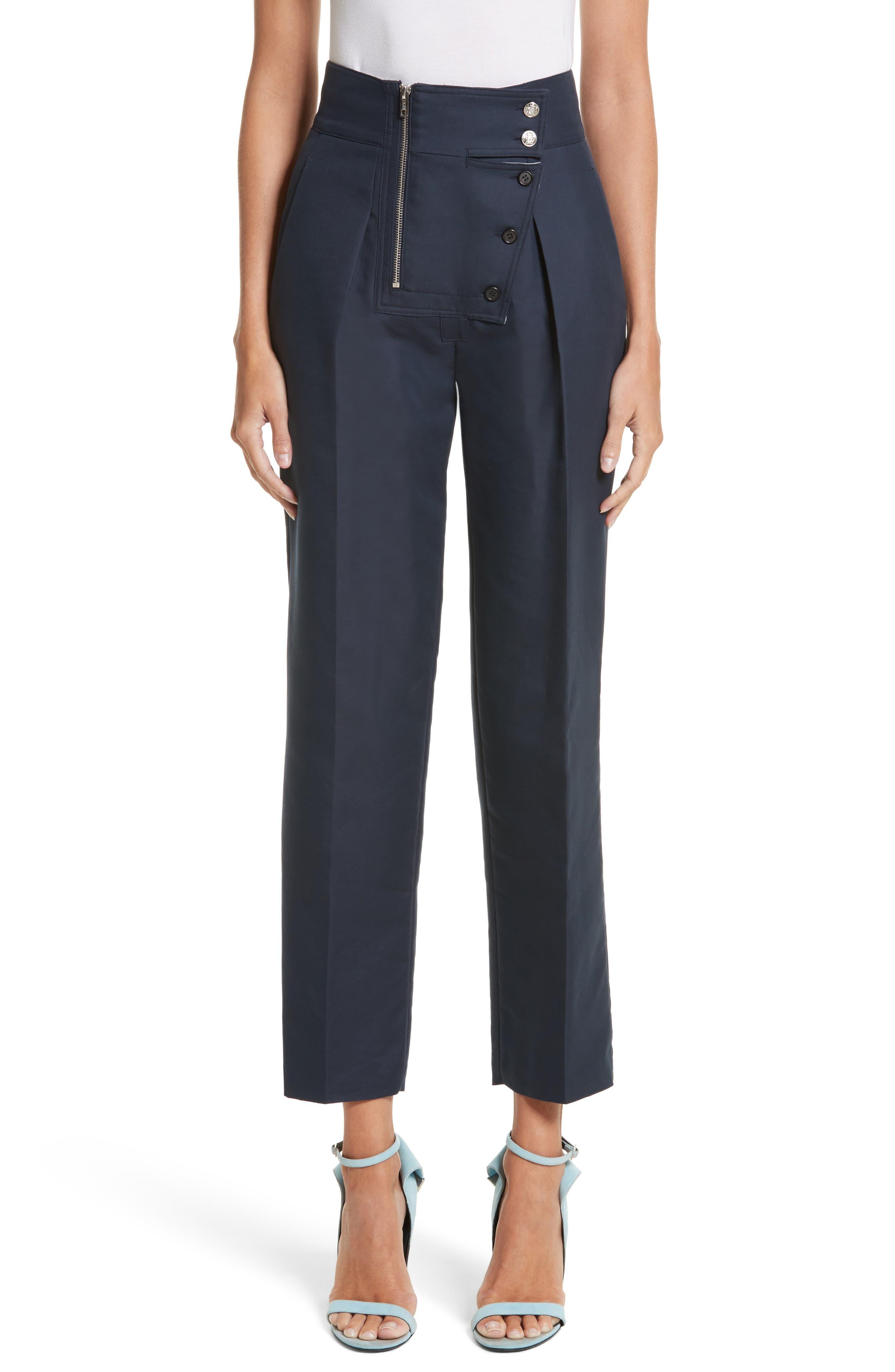 Cotton & Silk Sailor Pants,                         Main,                         color, Navy