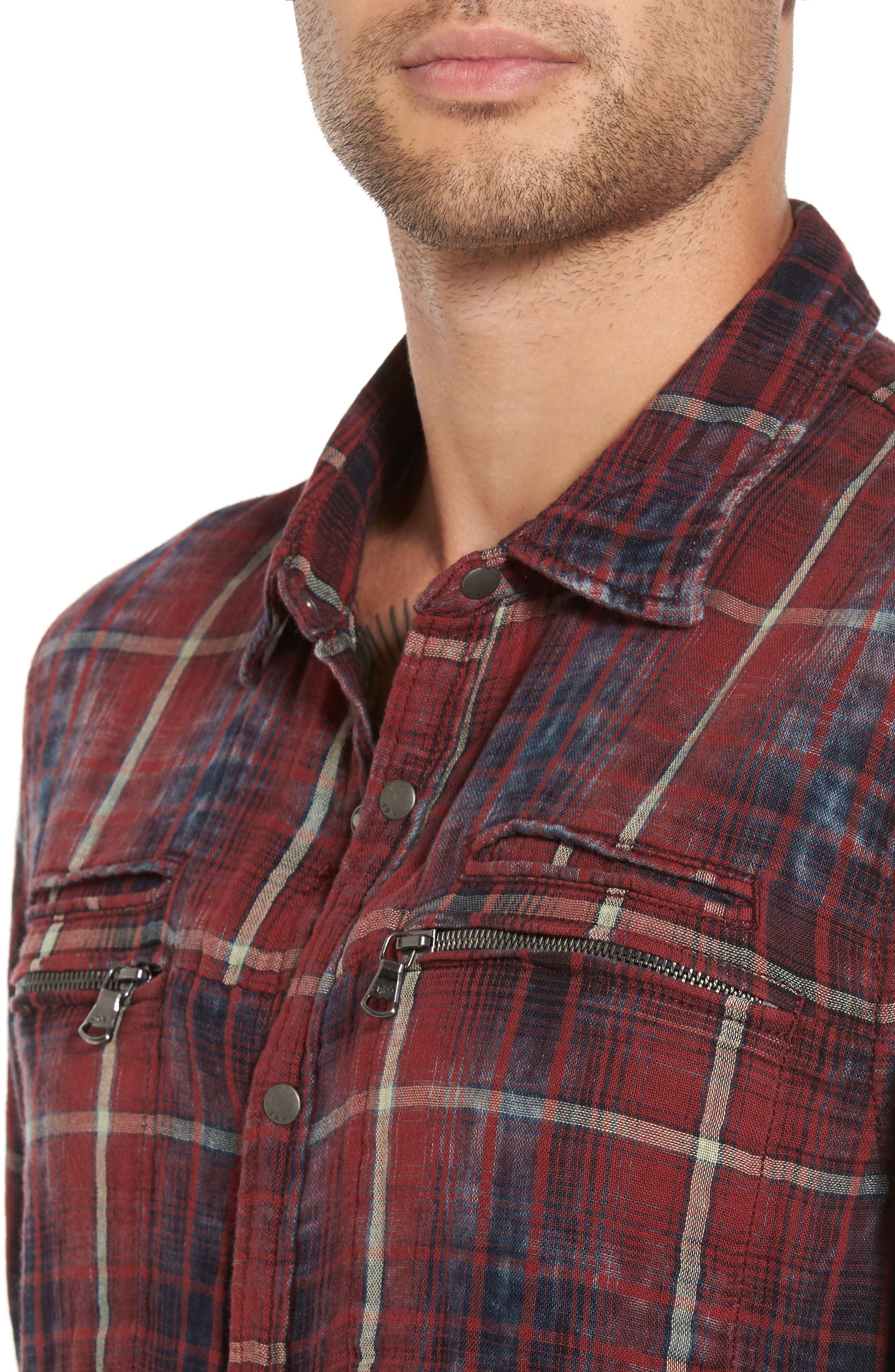 Alternate Image 4  - John Varvatos Star USA Distressed Plaid Sport Shirt