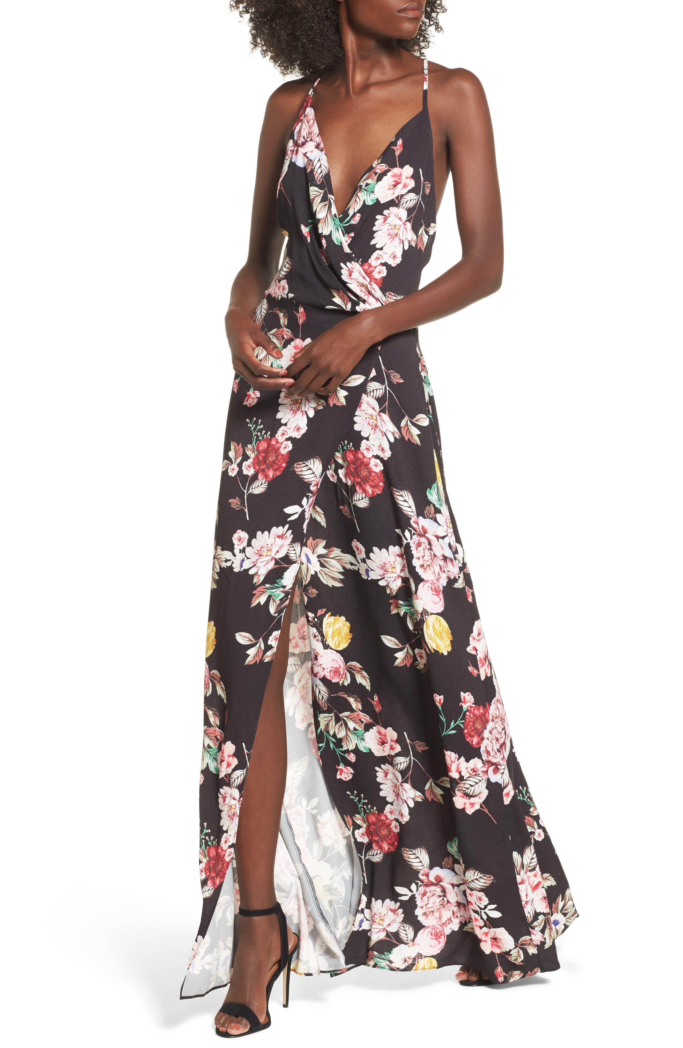 Kinsely Faux-Wrap Maxi Dress,                             Main thumbnail 1, color,                             Primrose Noir