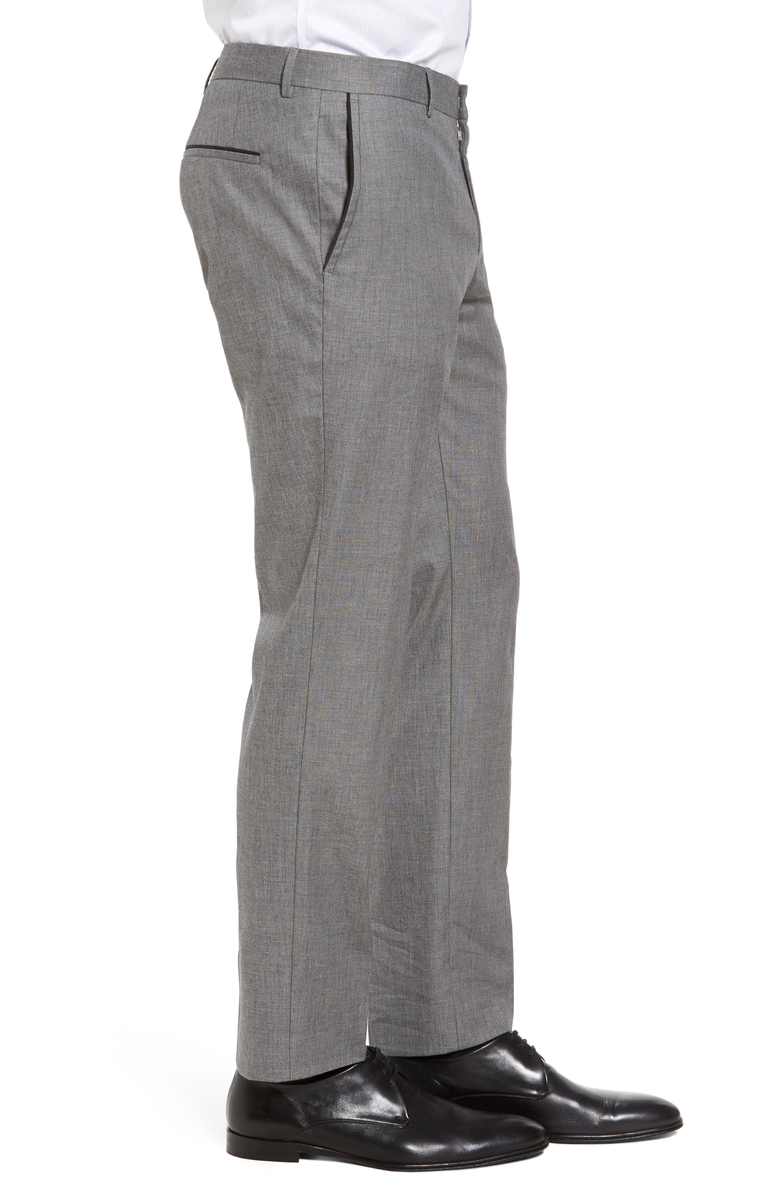 Blake Flat Front Trim Fit Solid Wool Trousers,                             Alternate thumbnail 4, color,                             Open Grey