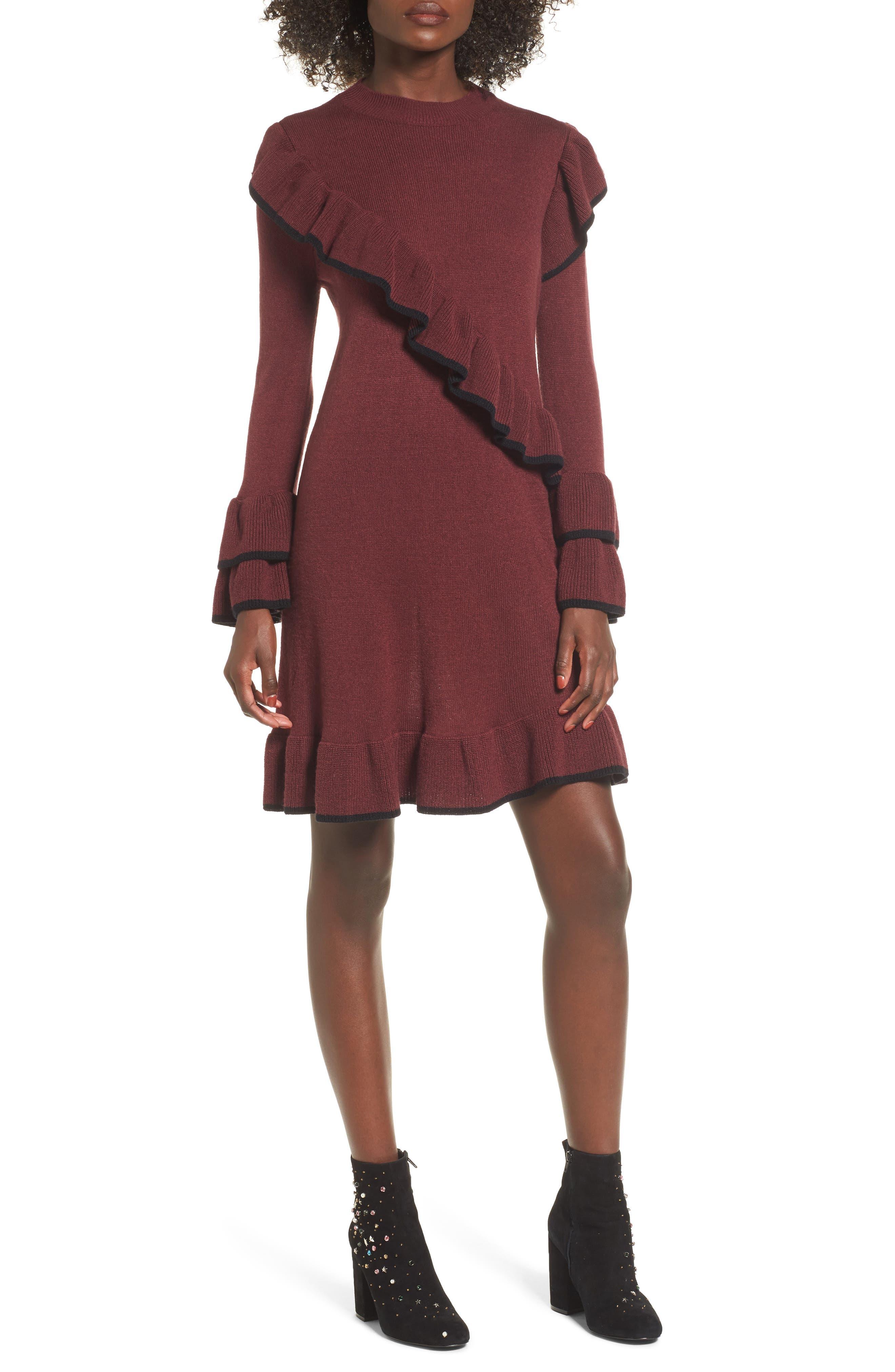 Ruffle Knit Sweater Dress,                             Main thumbnail 1, color,                             Burgundy Royale