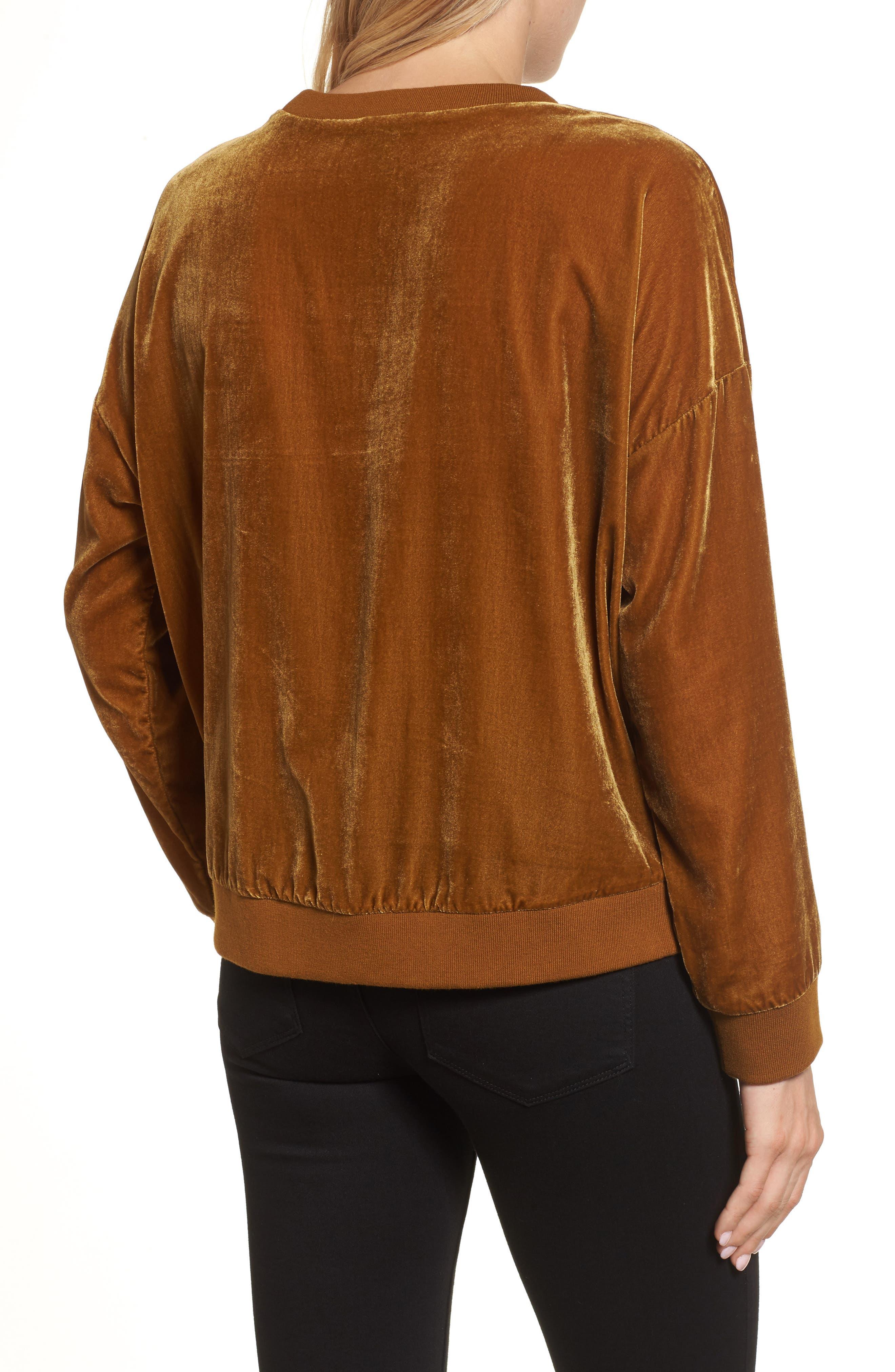 Zipper Velvet Sweatshirt,                             Alternate thumbnail 2, color,                             Gold