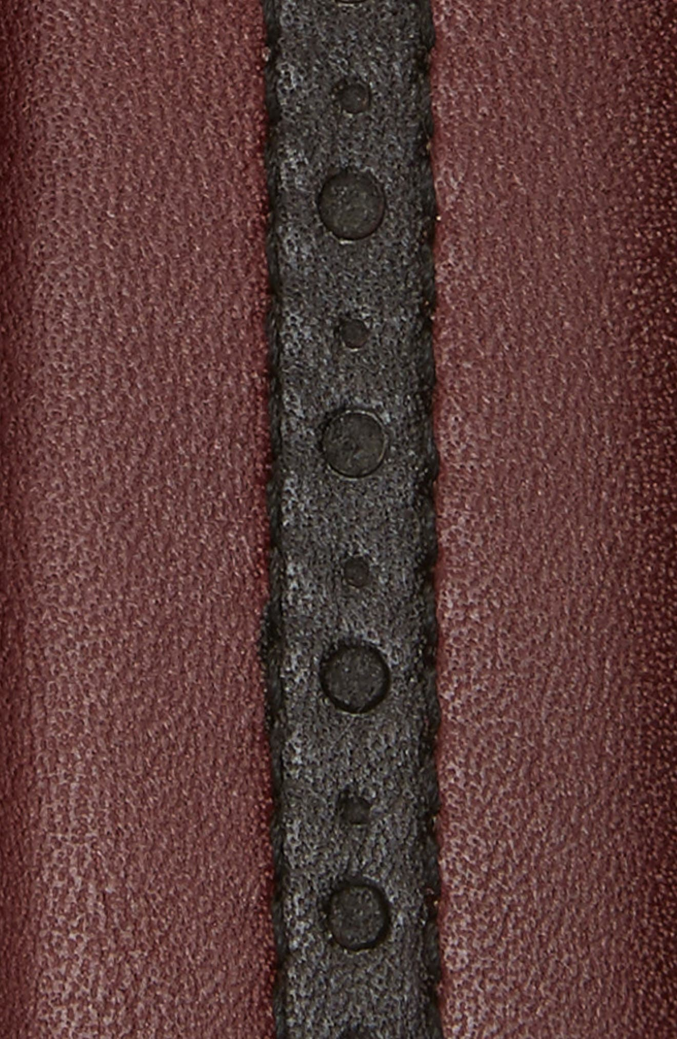 Perforated Leather Belt,                             Alternate thumbnail 2, color,                             Burgundy