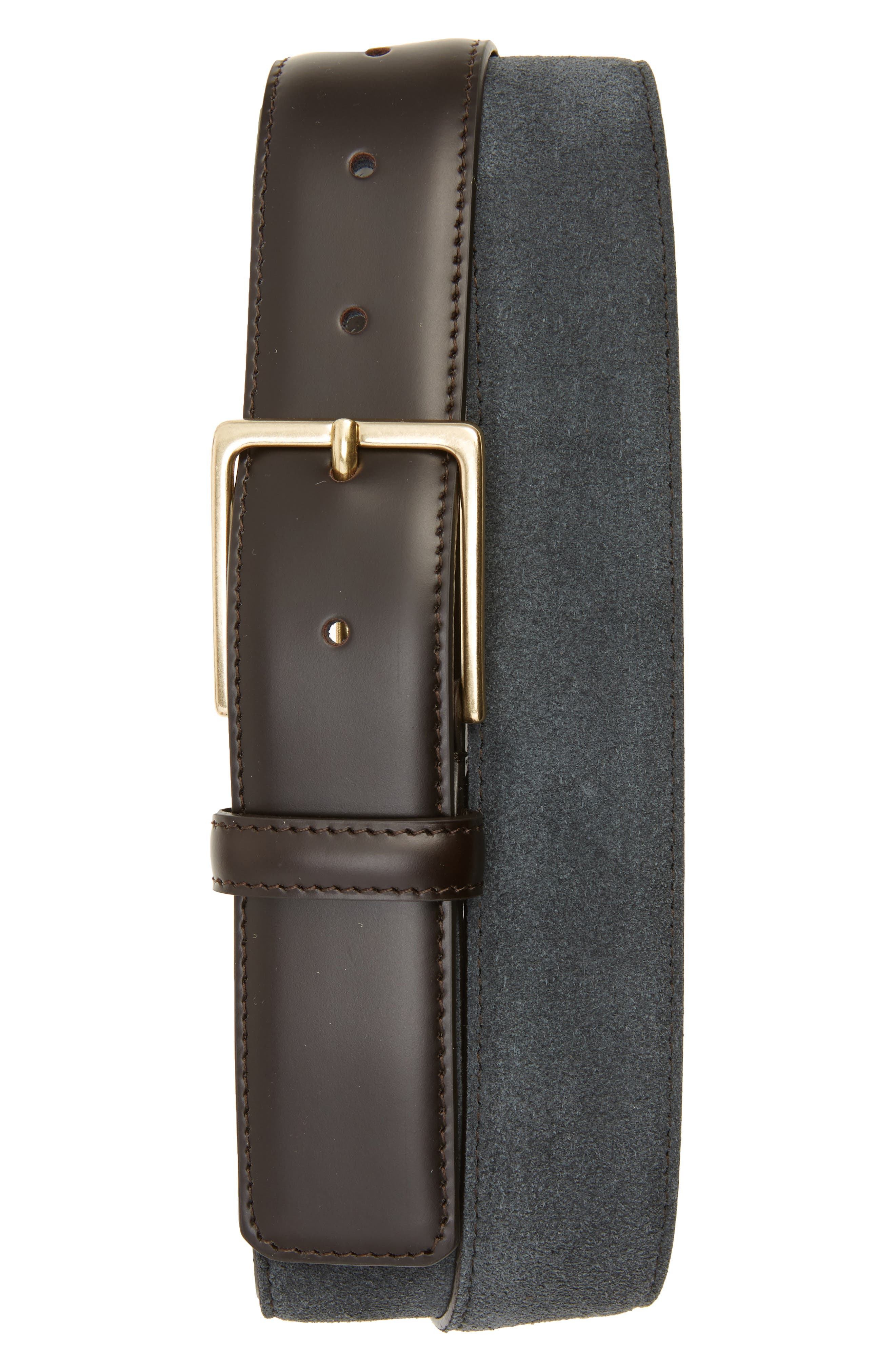 Suede Belt,                         Main,                         color, Grey