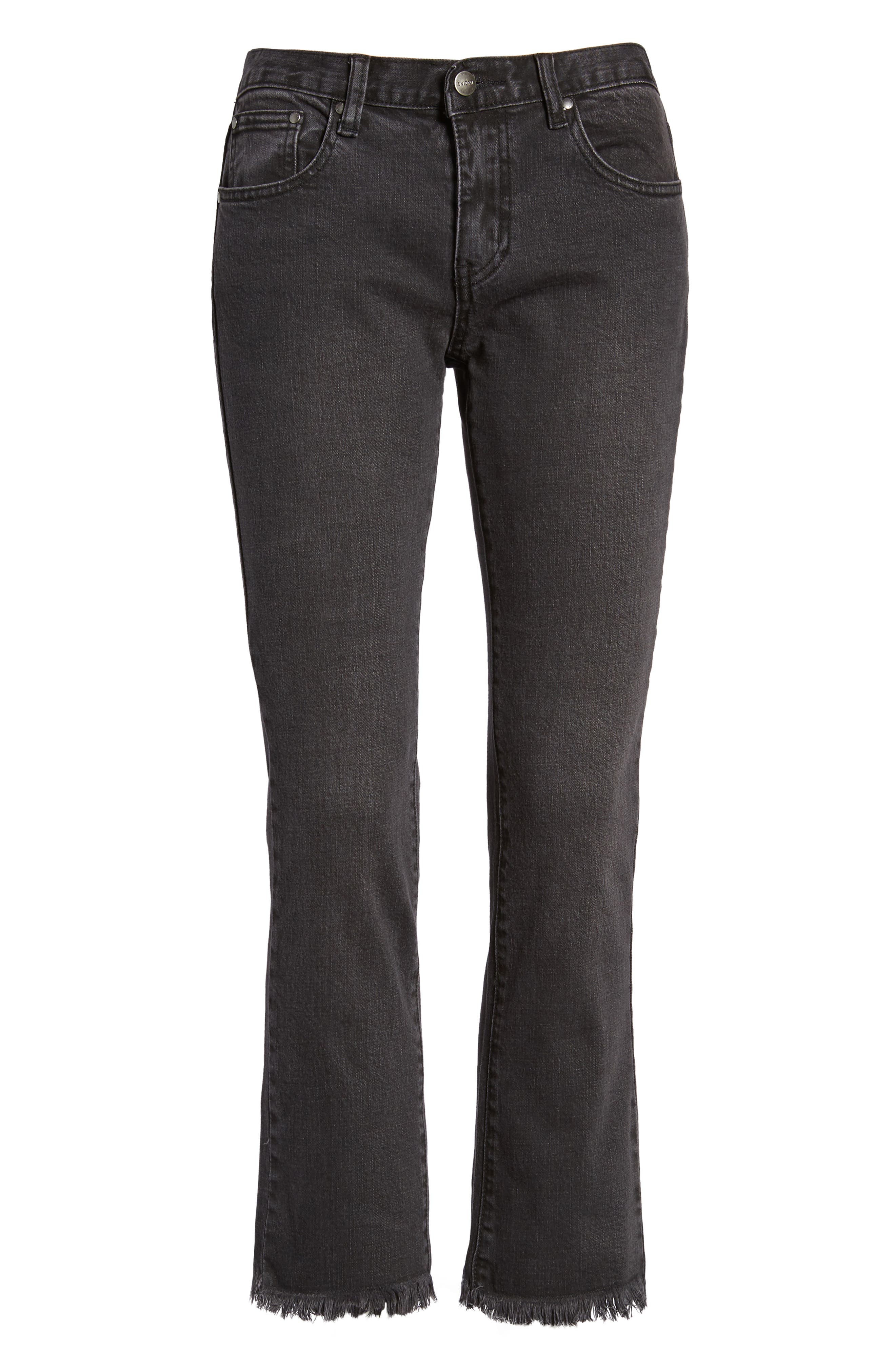 Hermosa Fray Hem Ankle Skinny Jeans,                             Alternate thumbnail 7, color,                             Black