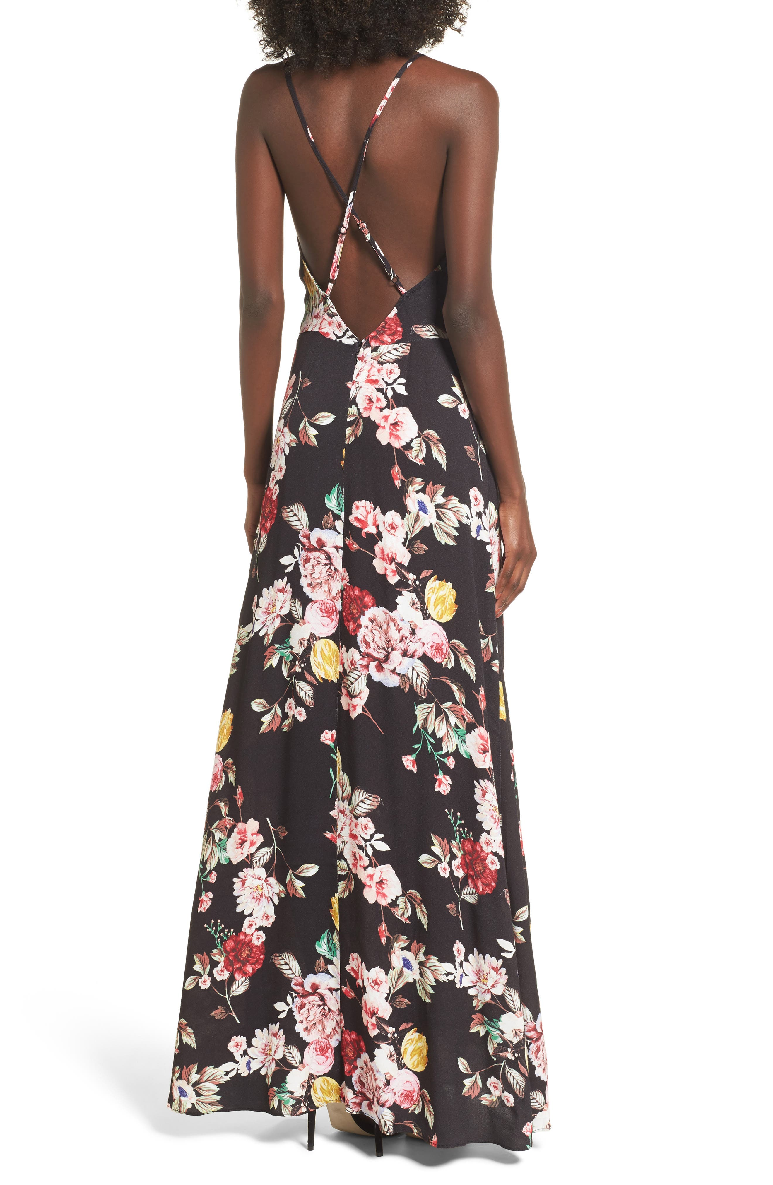 Kinsely Faux-Wrap Maxi Dress,                             Alternate thumbnail 2, color,                             Primrose Noir