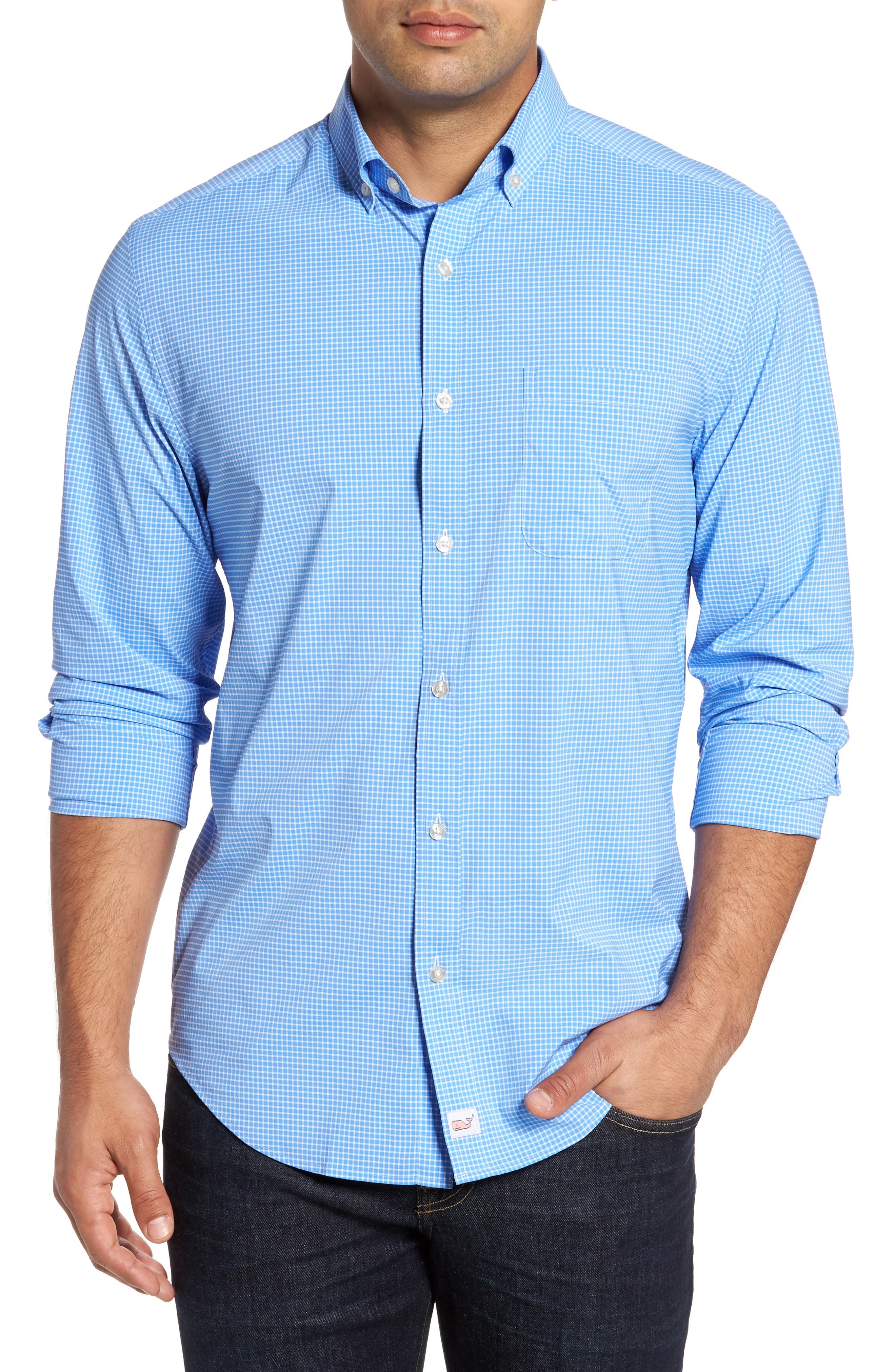 Alternate Image 1 Selected - vineyard vines Anchor Row Classic Fit Check Sport Shirt