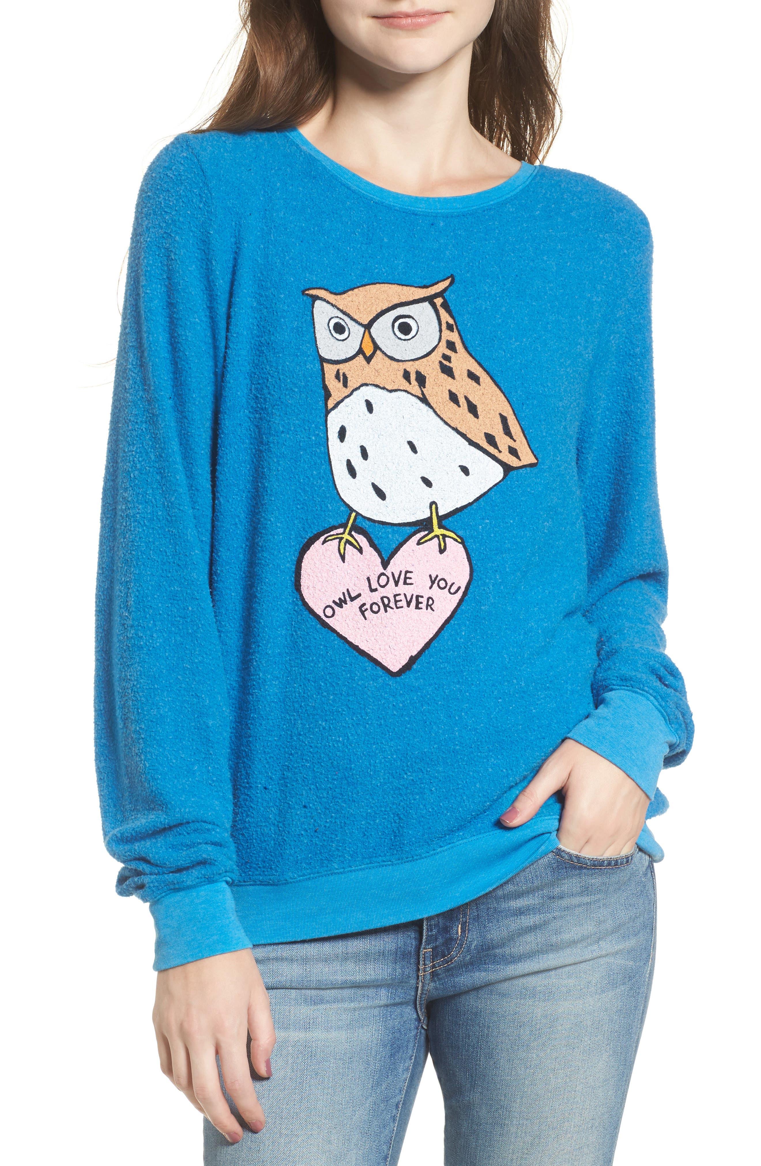 Owl Love You Forever Sweatshirt,                             Main thumbnail 1, color,                             Cobalt Sea