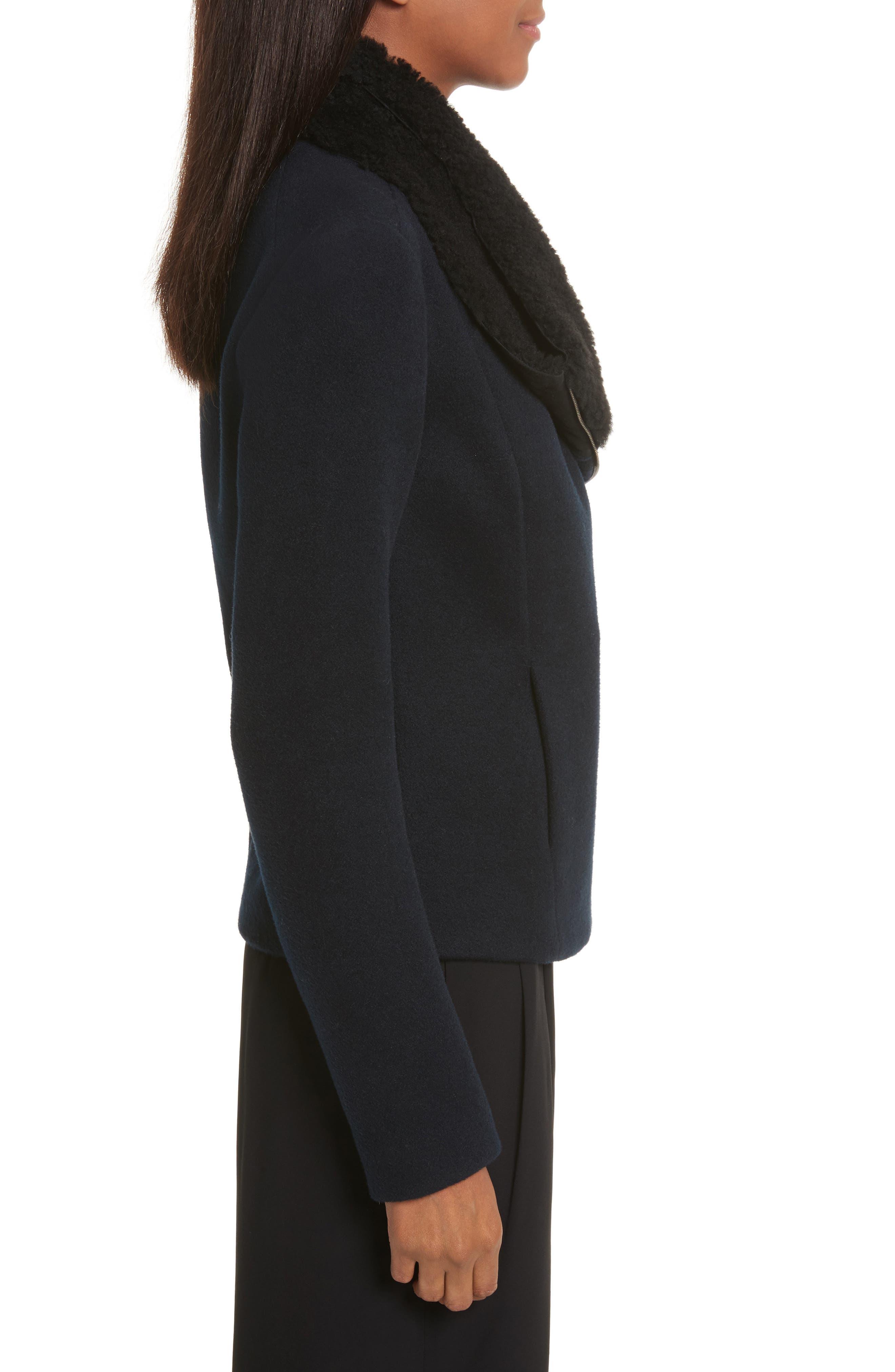 Genuine Shearling Trim Scuba Jacket,                             Alternate thumbnail 3, color,                             Coastal
