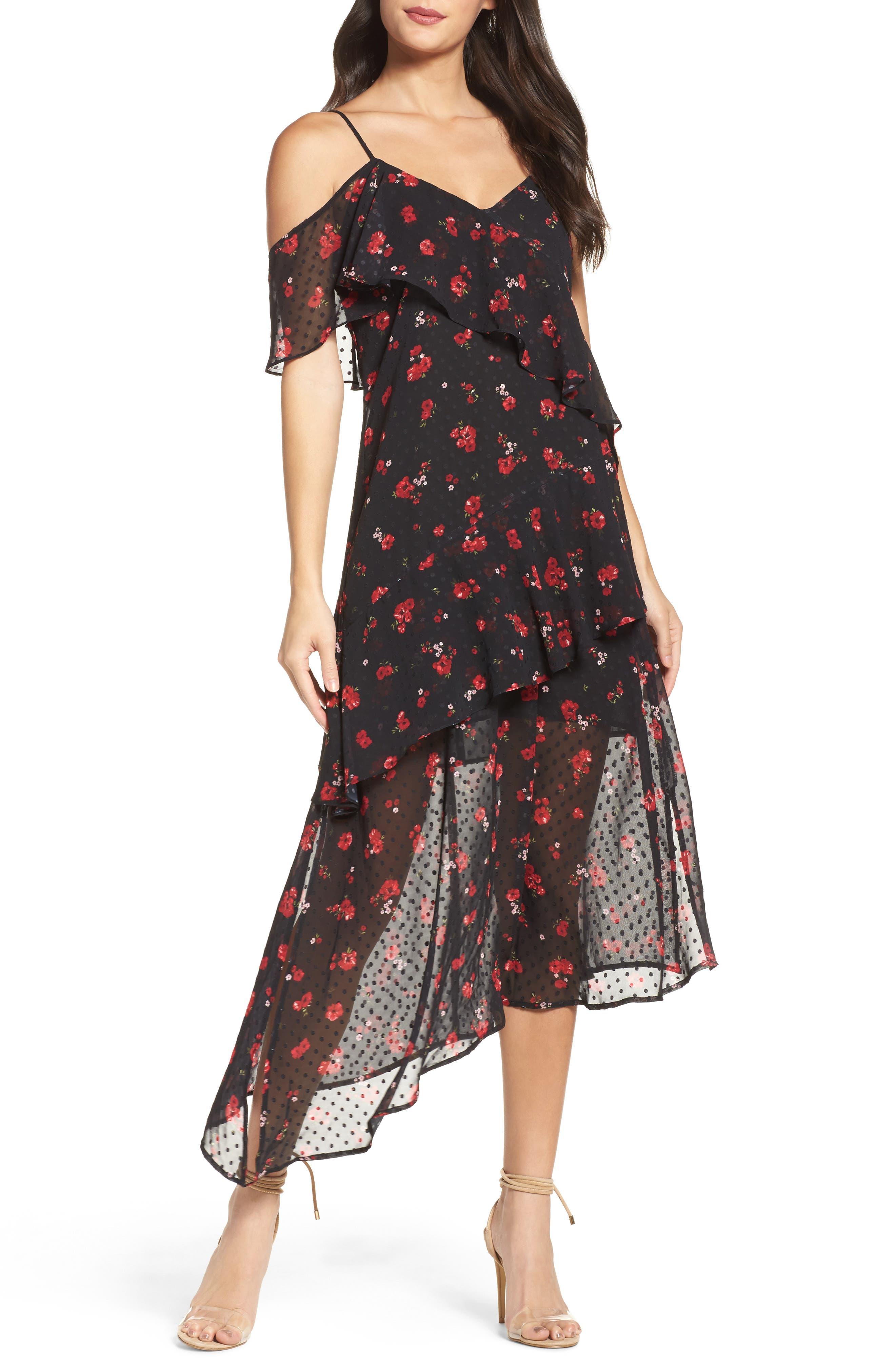 Poppy Ruffle Cold Shoulder Dress,                         Main,                         color, Poppy