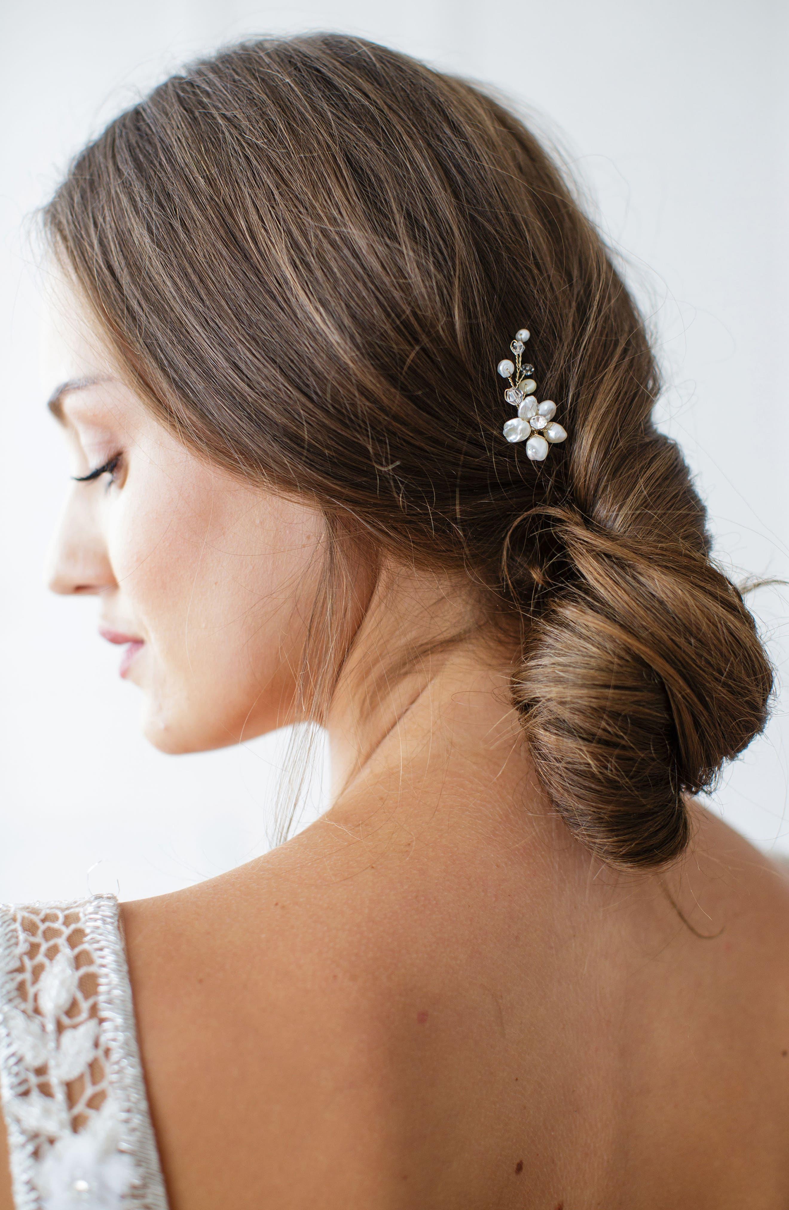 Main Image - Brides & Hairpins Nahla Pearl & Crystal Flower Pin