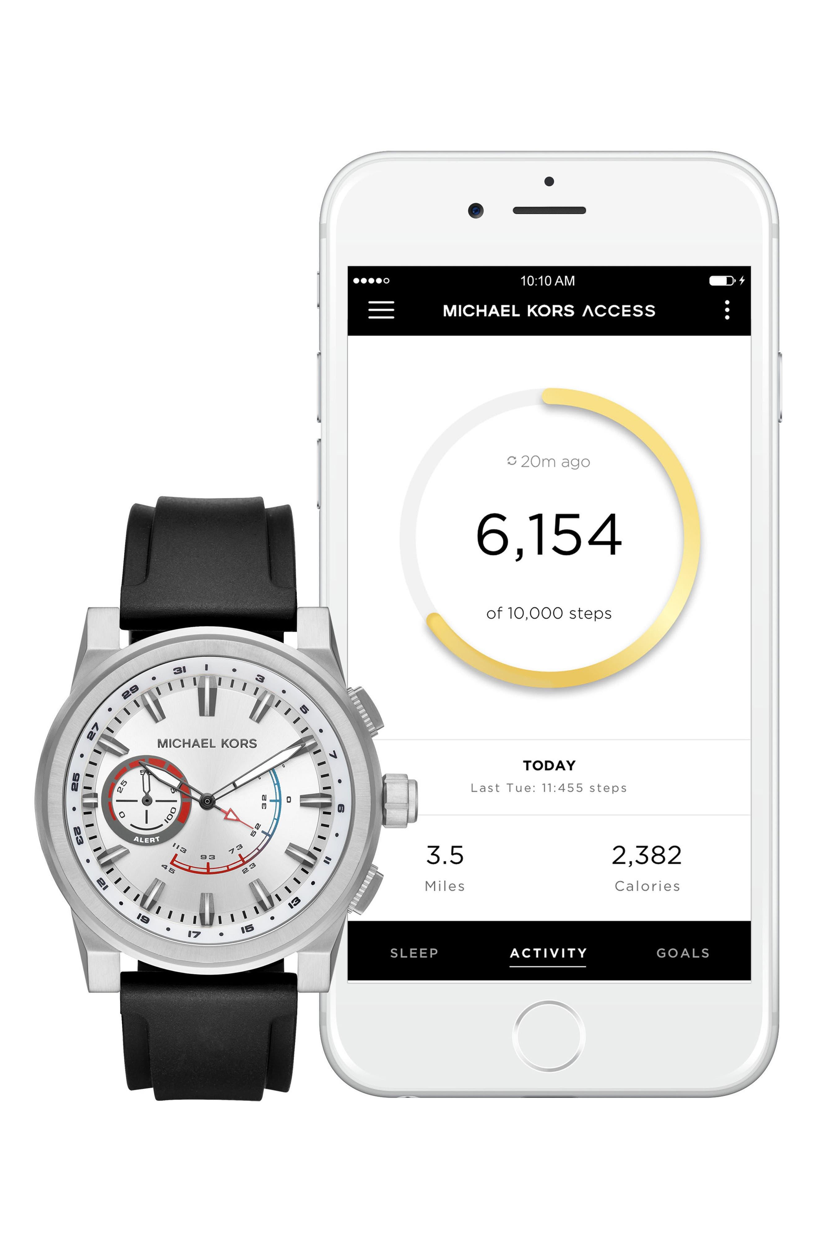 Grayson Hybrid Silicone Strap Smart Watch, 47mm,                             Alternate thumbnail 5, color,                             Black/ Silver