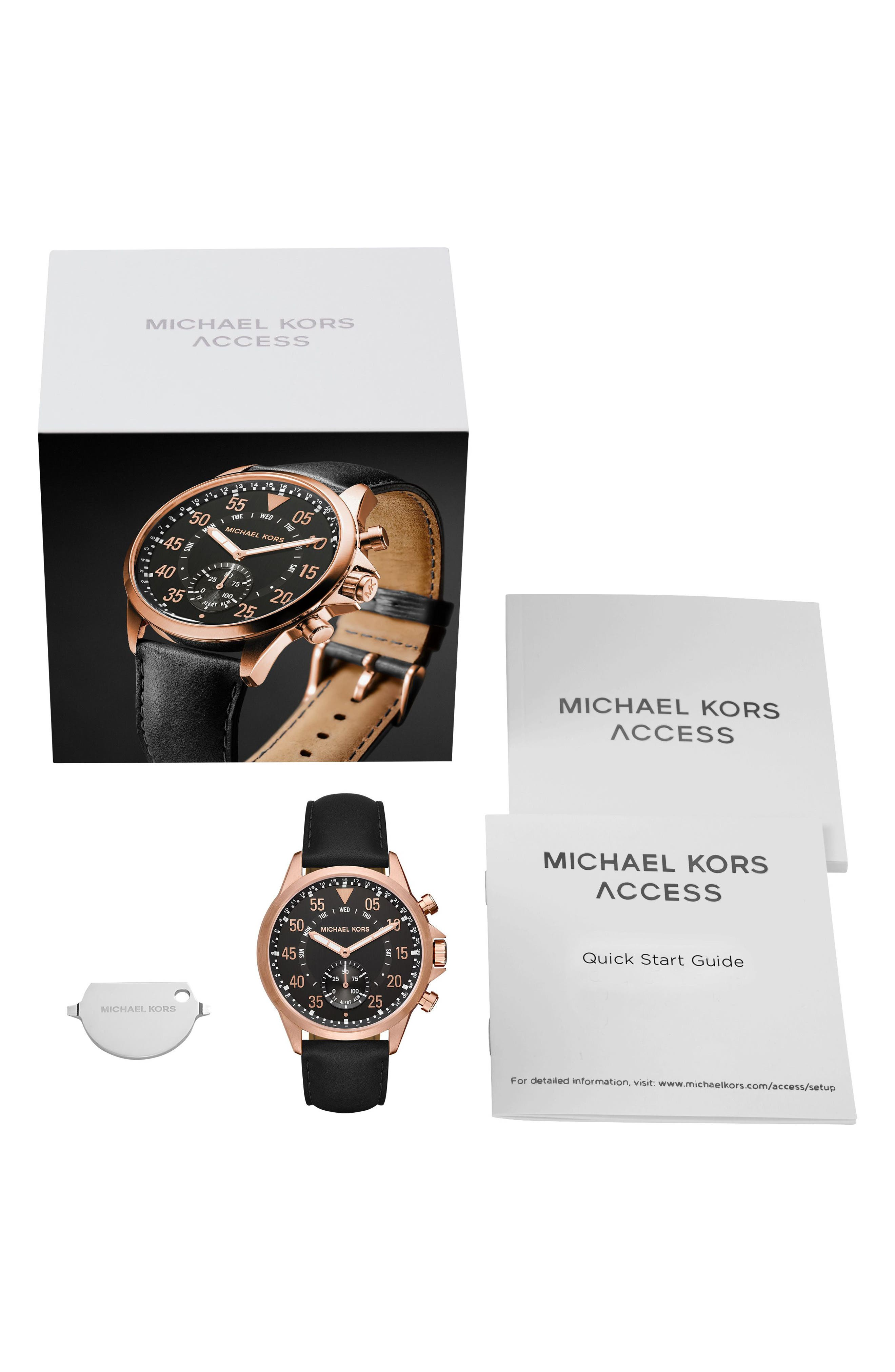 Michael Kors Gage Leather Strap Smart Watch, 45mm,                             Alternate thumbnail 5, color,                             Black/ Rose Gold