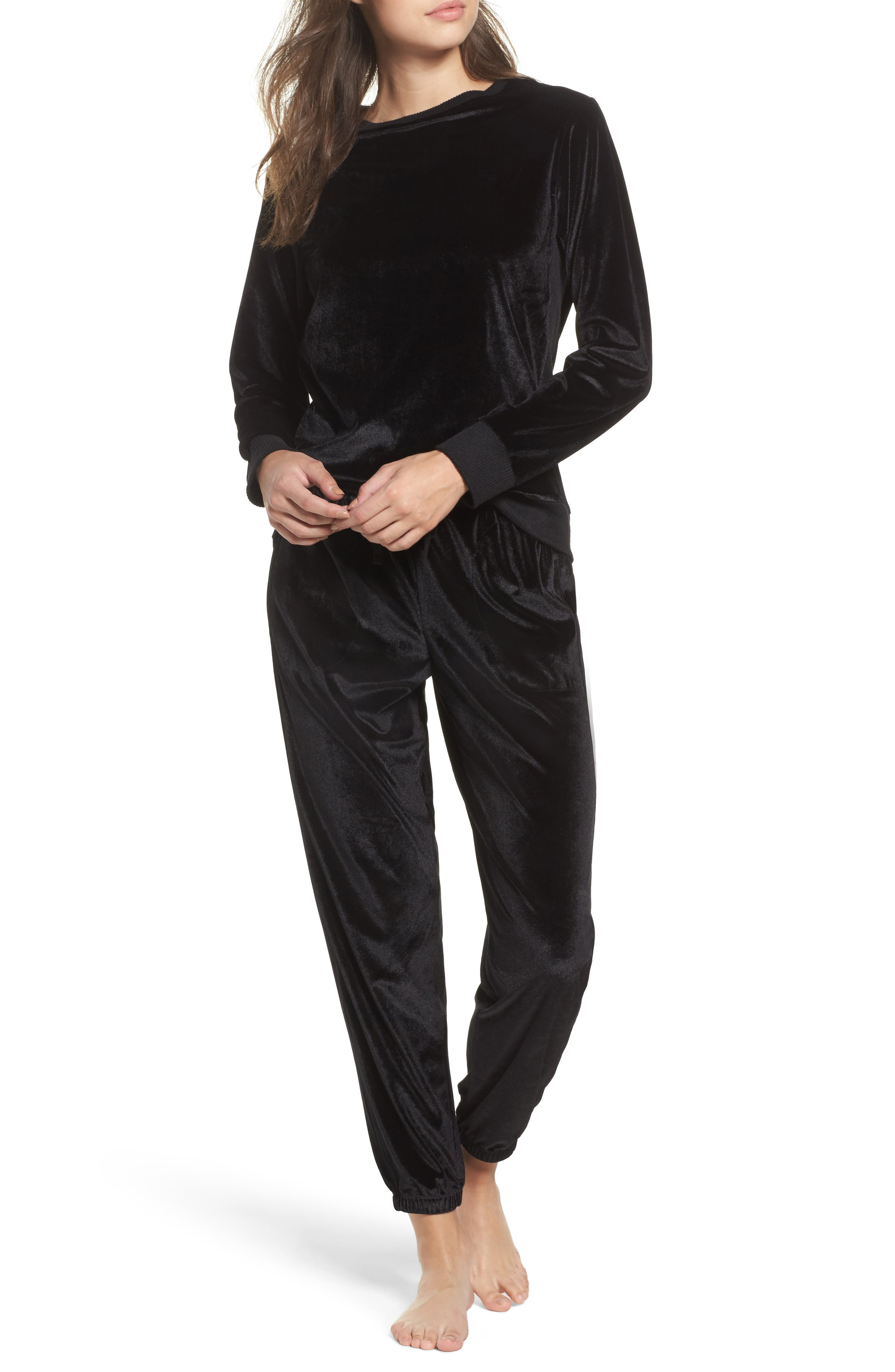 Velour Lounge Jogger Pants,                             Alternate thumbnail 7, color,                             Black