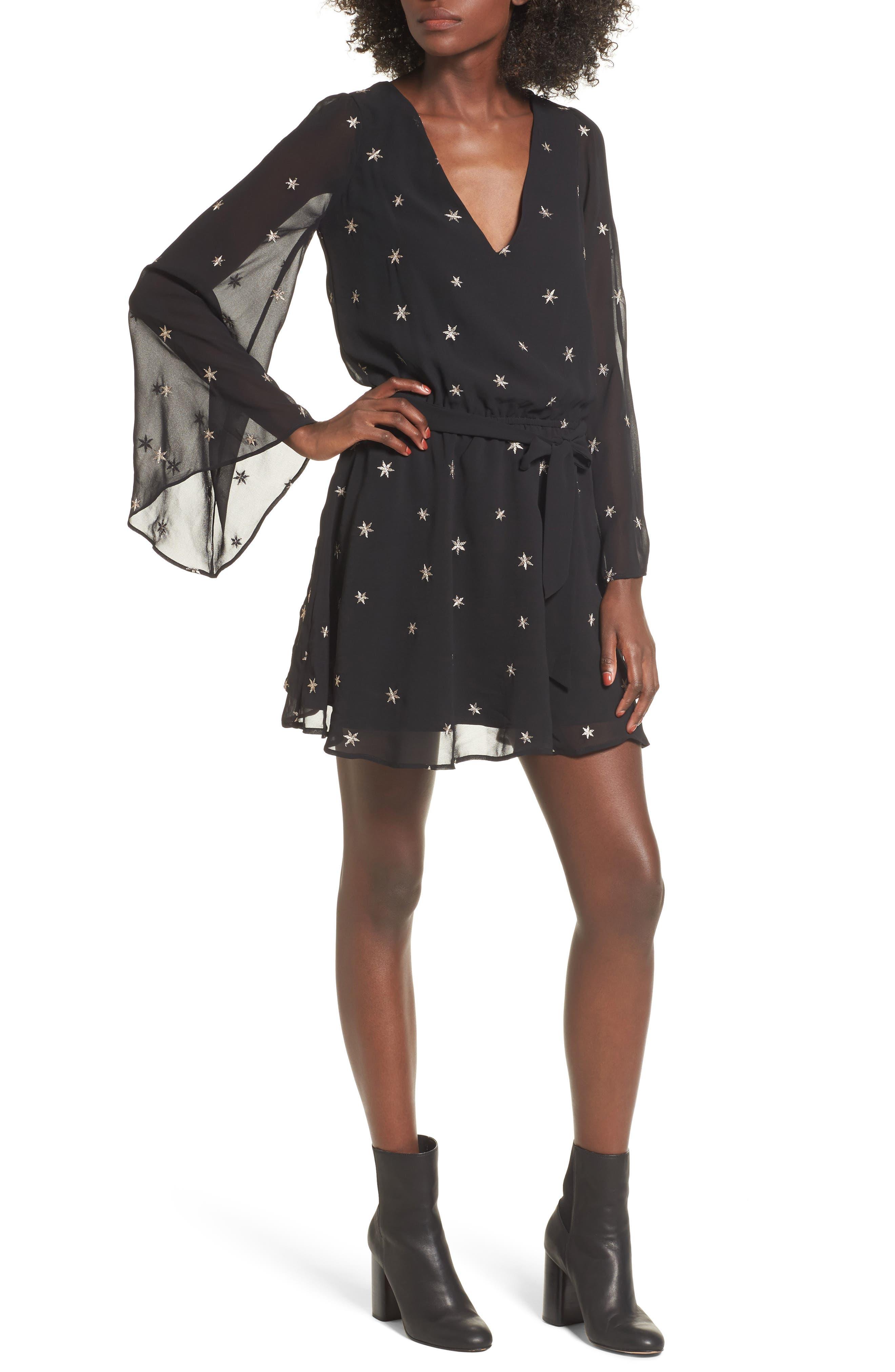 Lila Blouson Dress,                             Main thumbnail 1, color,                             Night/ Gold