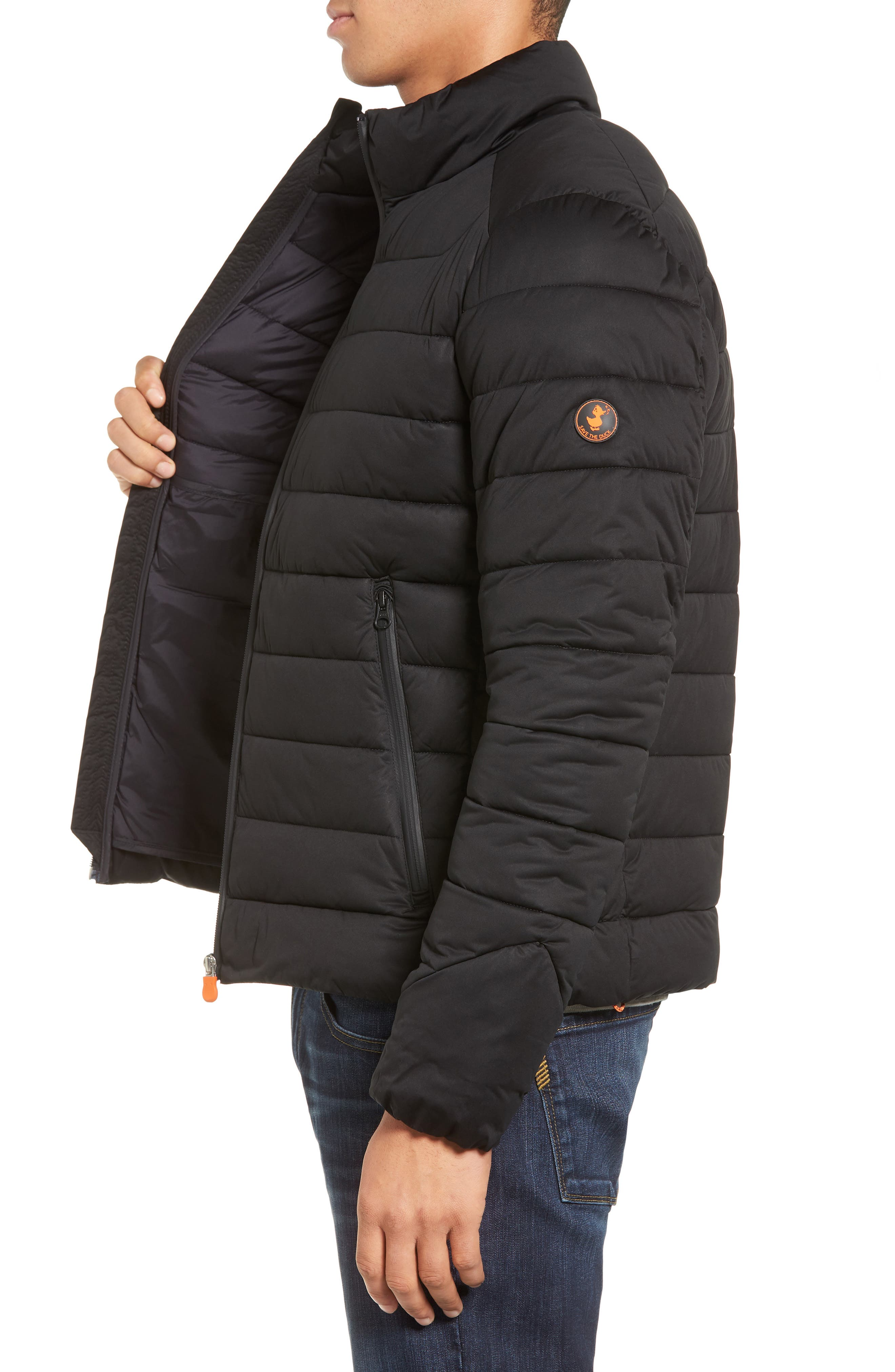 Water Resistant Puffer Jacket,                             Alternate thumbnail 3, color,                             Black