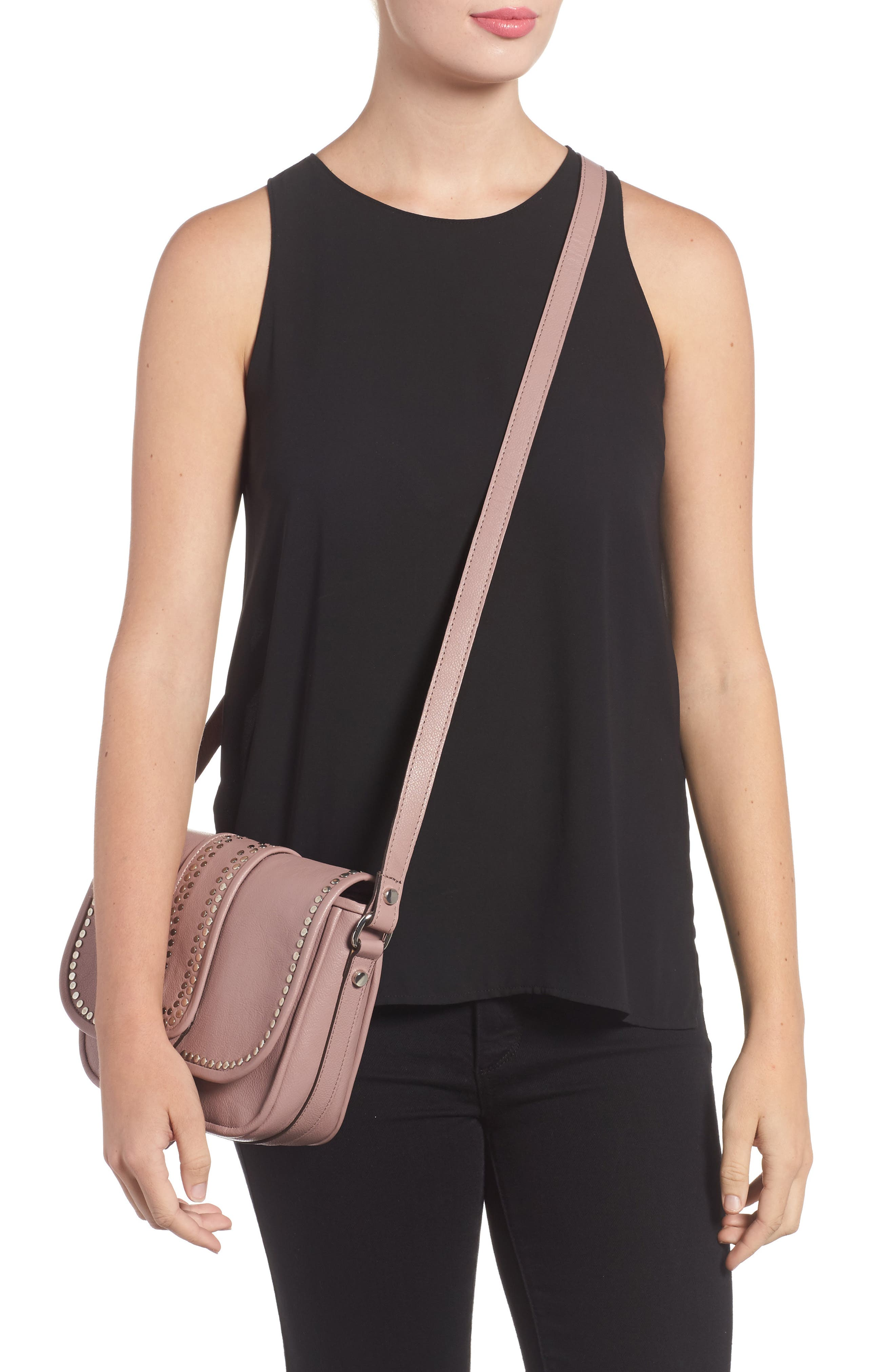 Premium Leather Studded Shoulder Bag,                             Alternate thumbnail 2, color,                             Blush