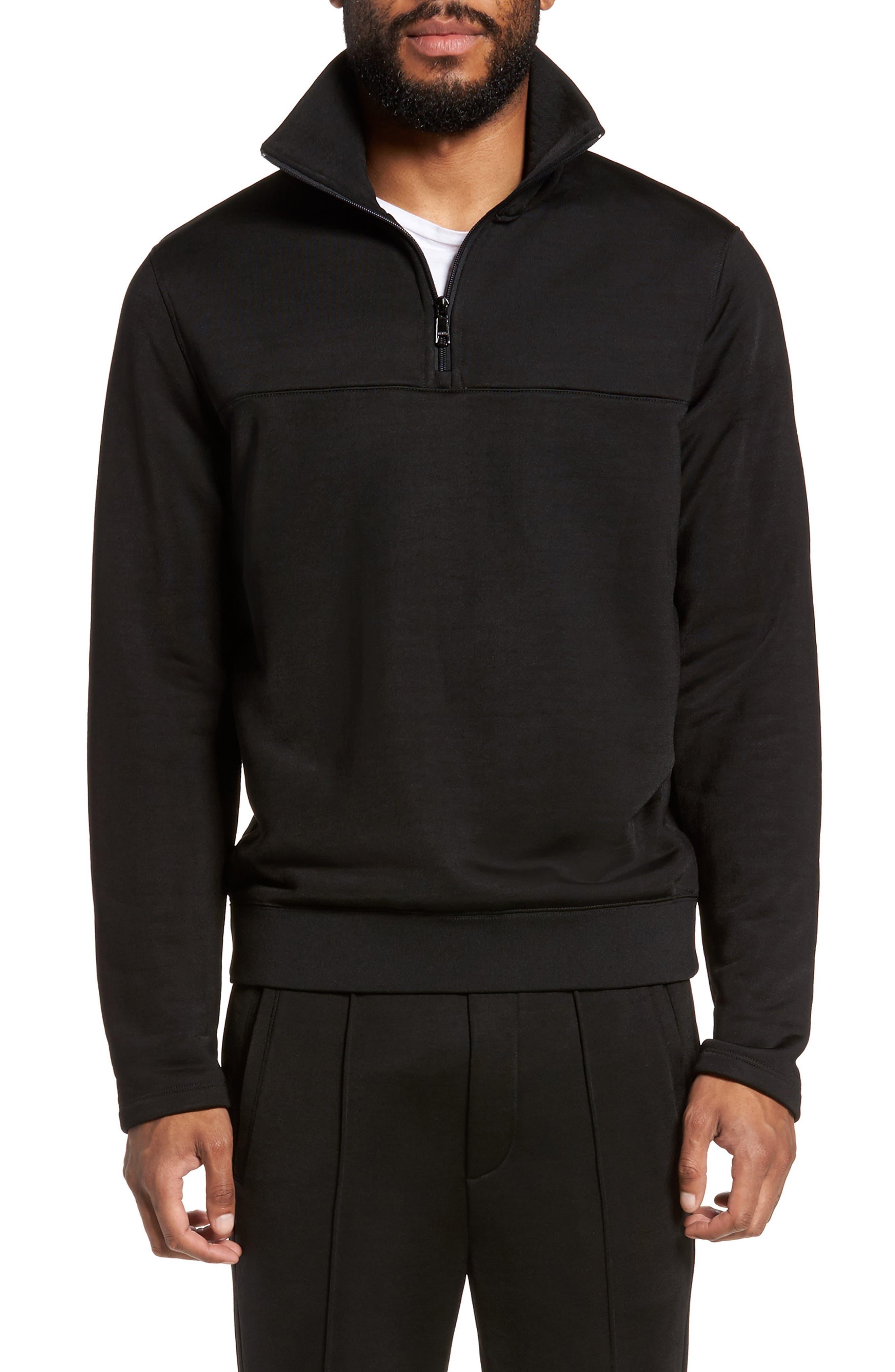 Quarter Zip Pullover,                             Main thumbnail 1, color,                             Black